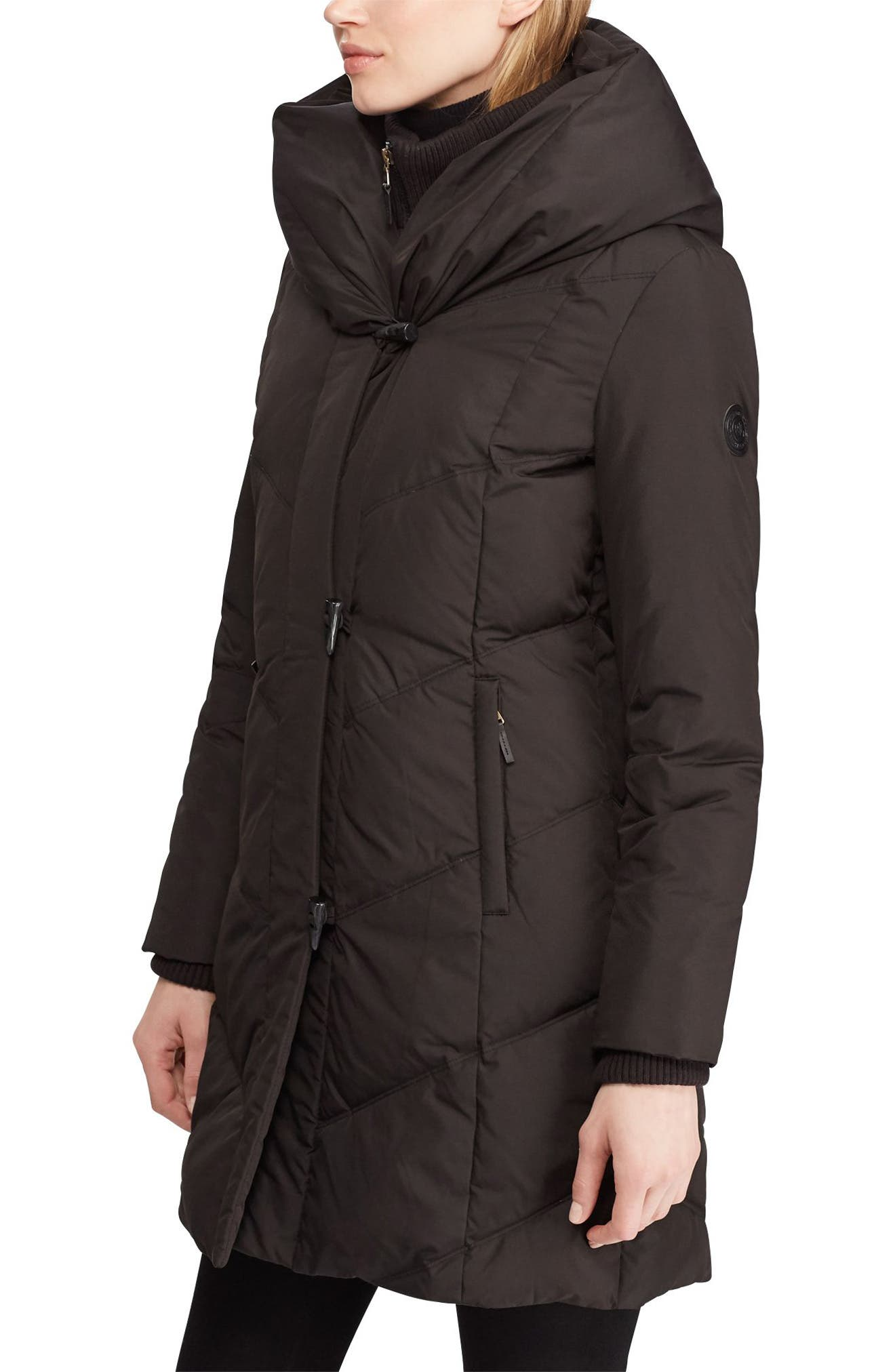 LAUREN RALPH LAUREN, Pillow Hood Quilted Coat, Main thumbnail 1, color, BLACK