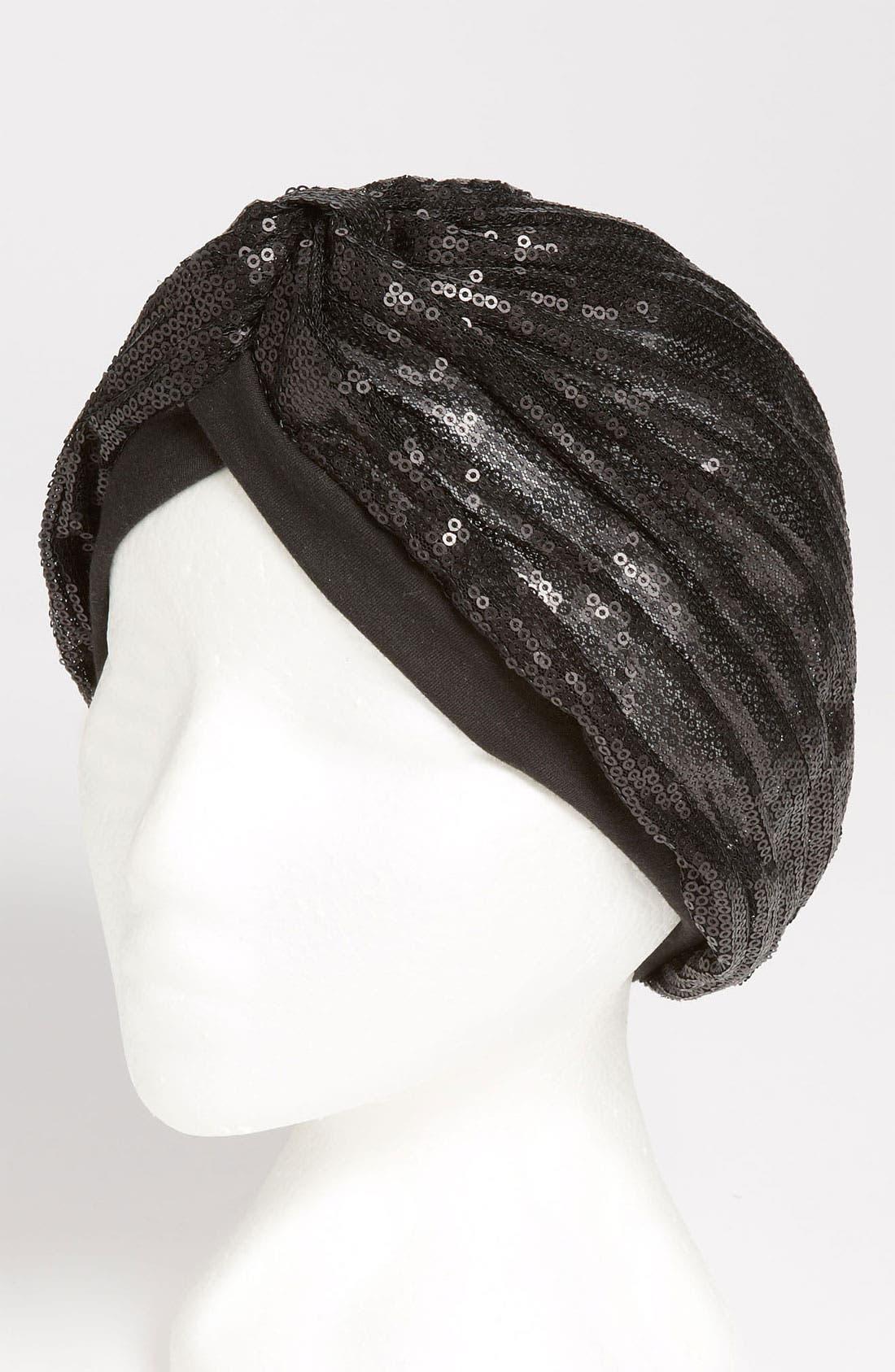 BCBG, neration Sequined Turban, Main thumbnail 1, color, 001