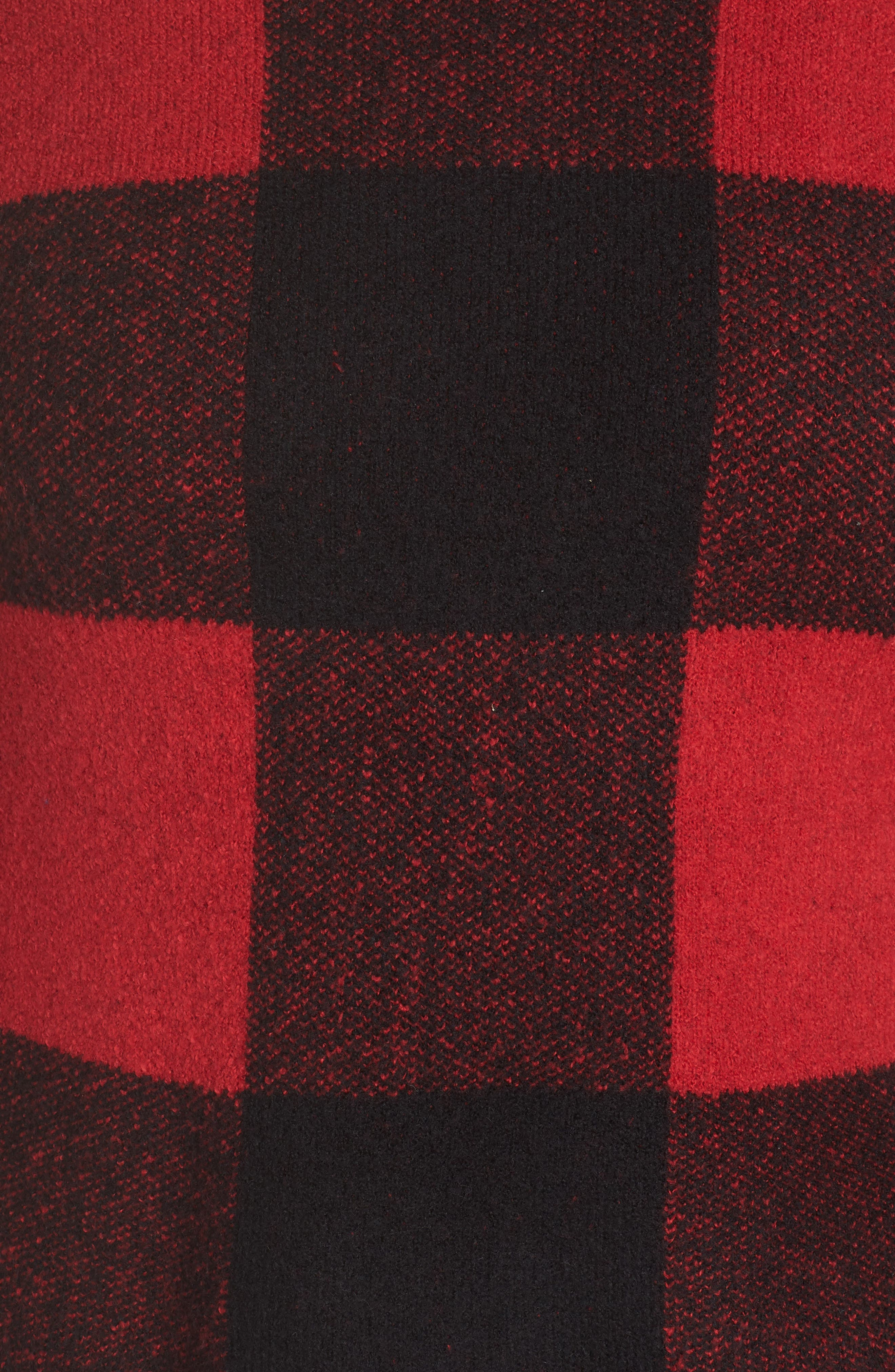 SEJOUR, Buffalo Plaid Sweater, Alternate thumbnail 5, color, BLACK-RED BUFFALO CHECK