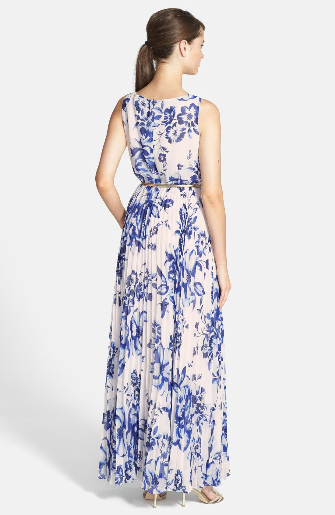 ELIZA J, Pleated Floral Chiffon Maxi Dress, Alternate thumbnail 8, color, COBALT