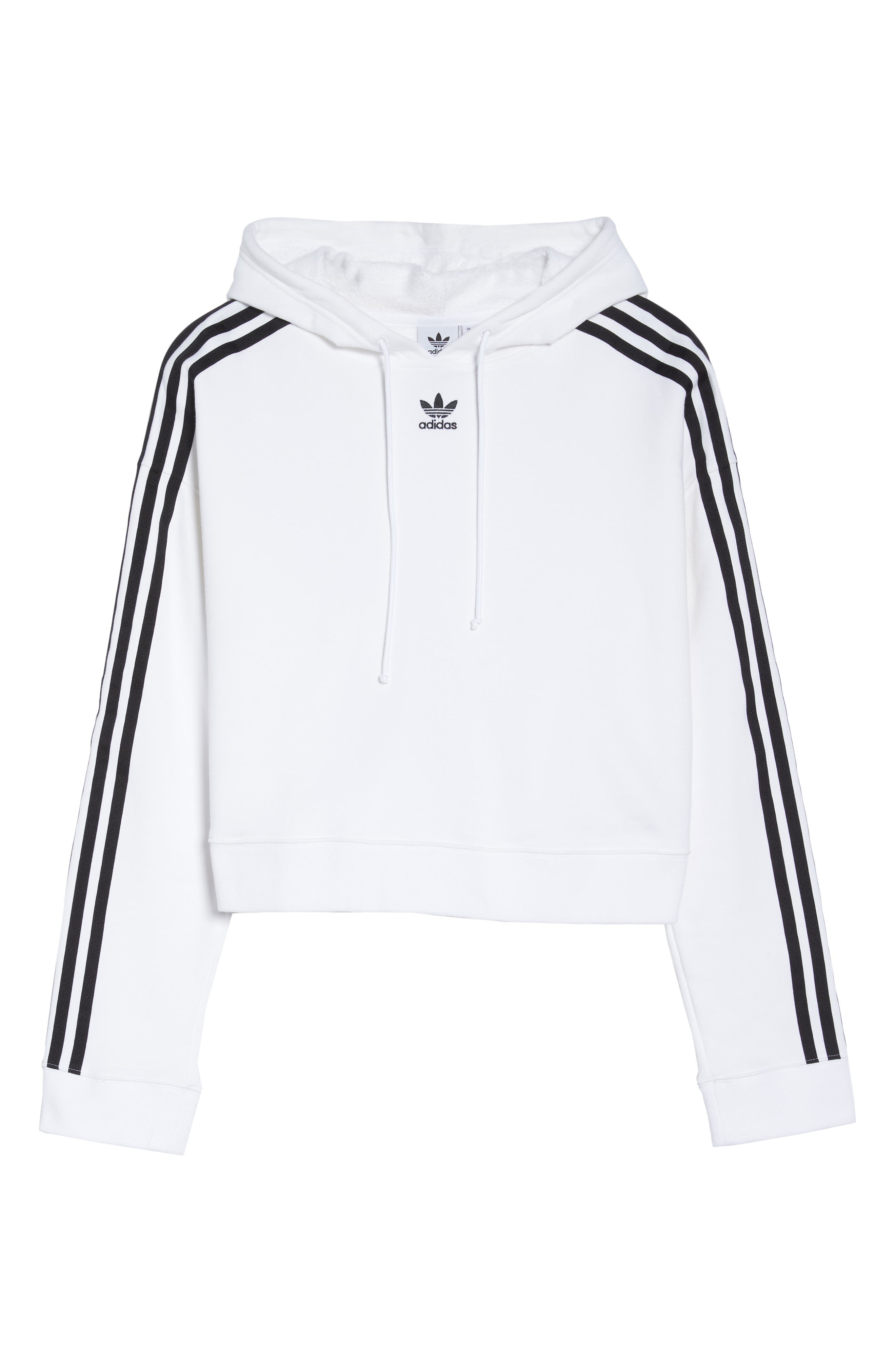 ADIDAS ORIGINALS, Cropped Hoodie, Alternate thumbnail 7, color, WHITE