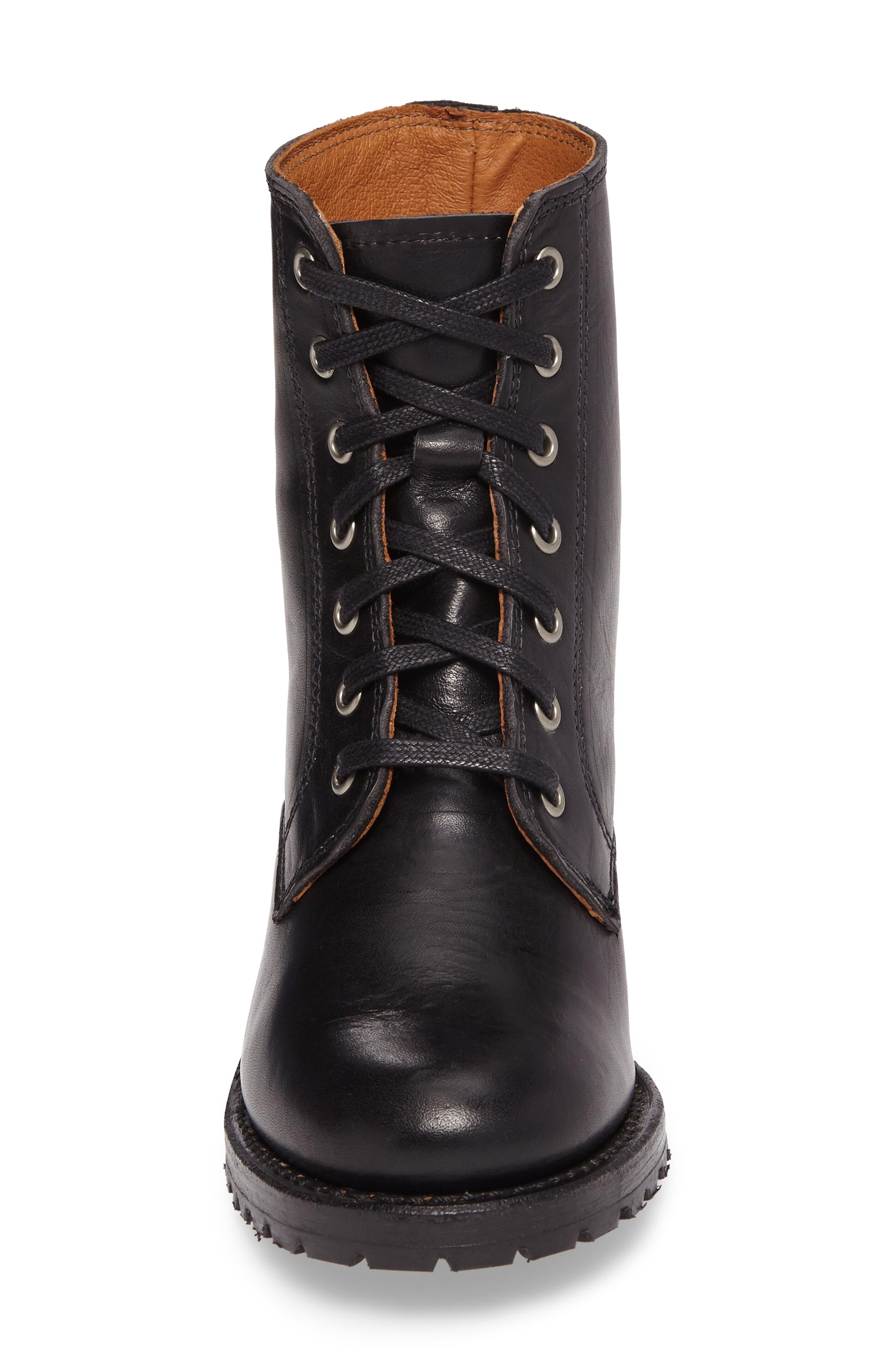FRYE, Sabrina 6G Lace-Up Boot, Alternate thumbnail 4, color, BLACK