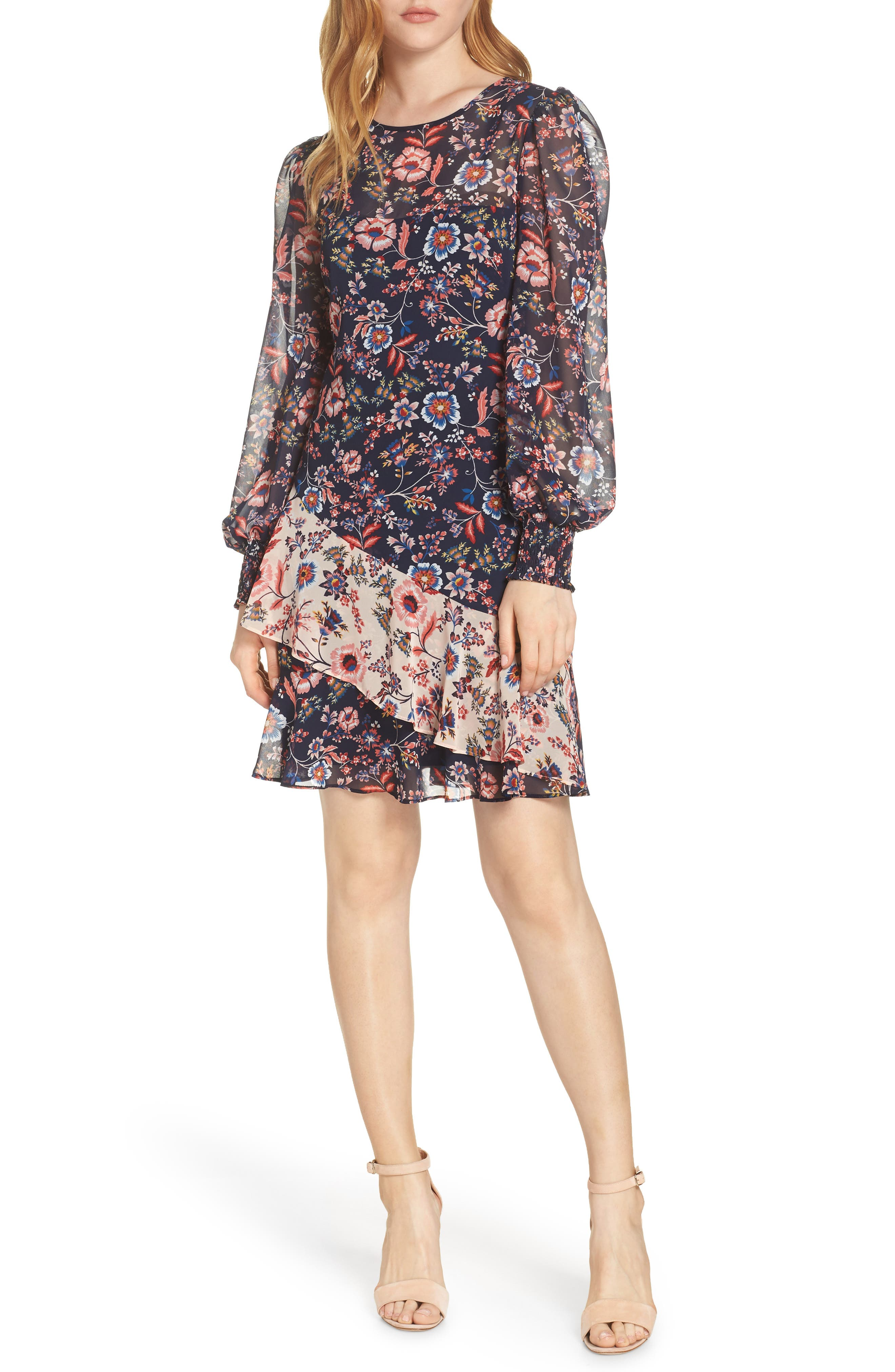 ELIZA J Floral Print Contrast Ruffle Chiffon Dress, Main, color, NAVY MULTI