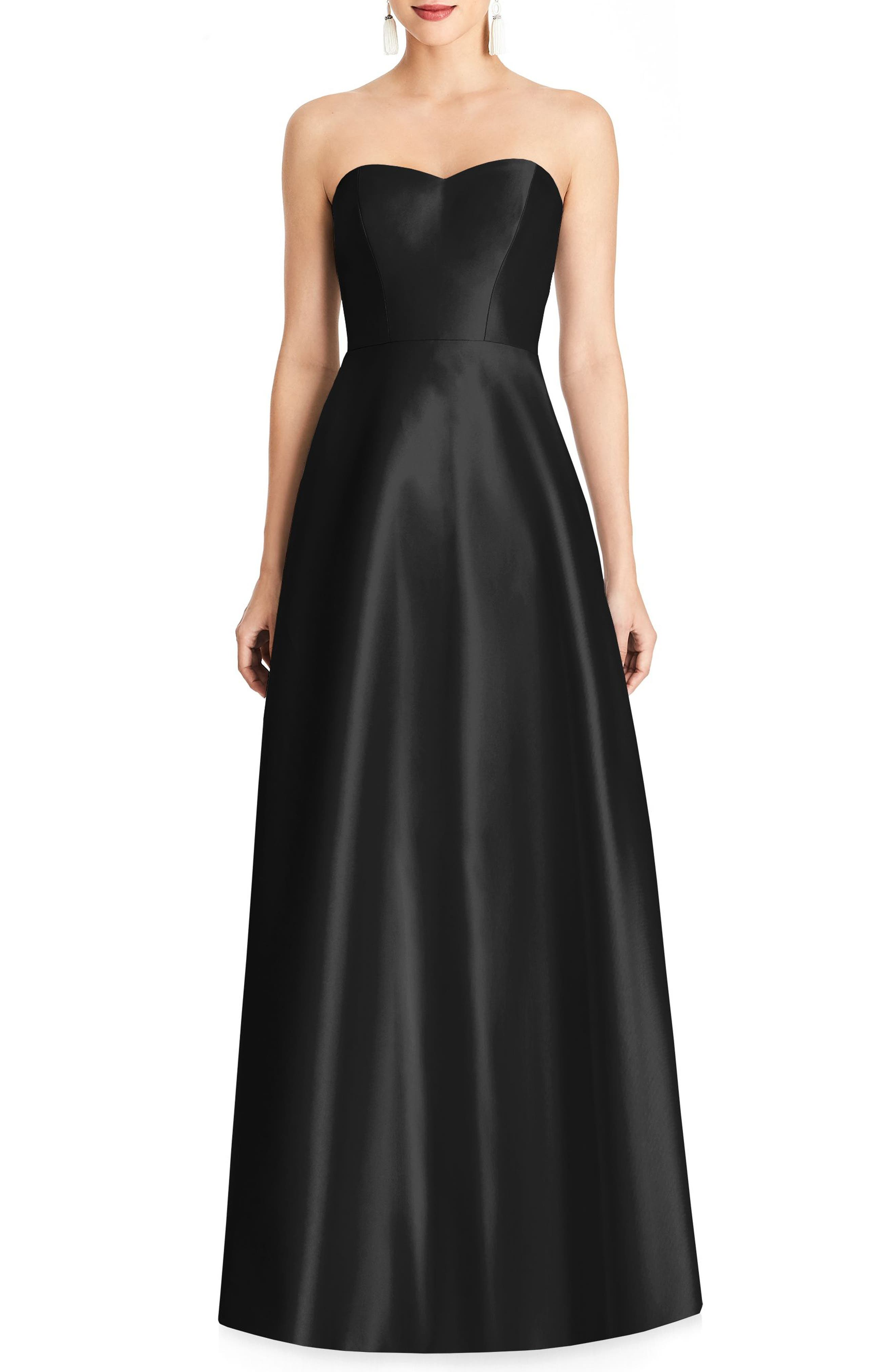 Alfred Sung Strapless Sateen Gown, Black