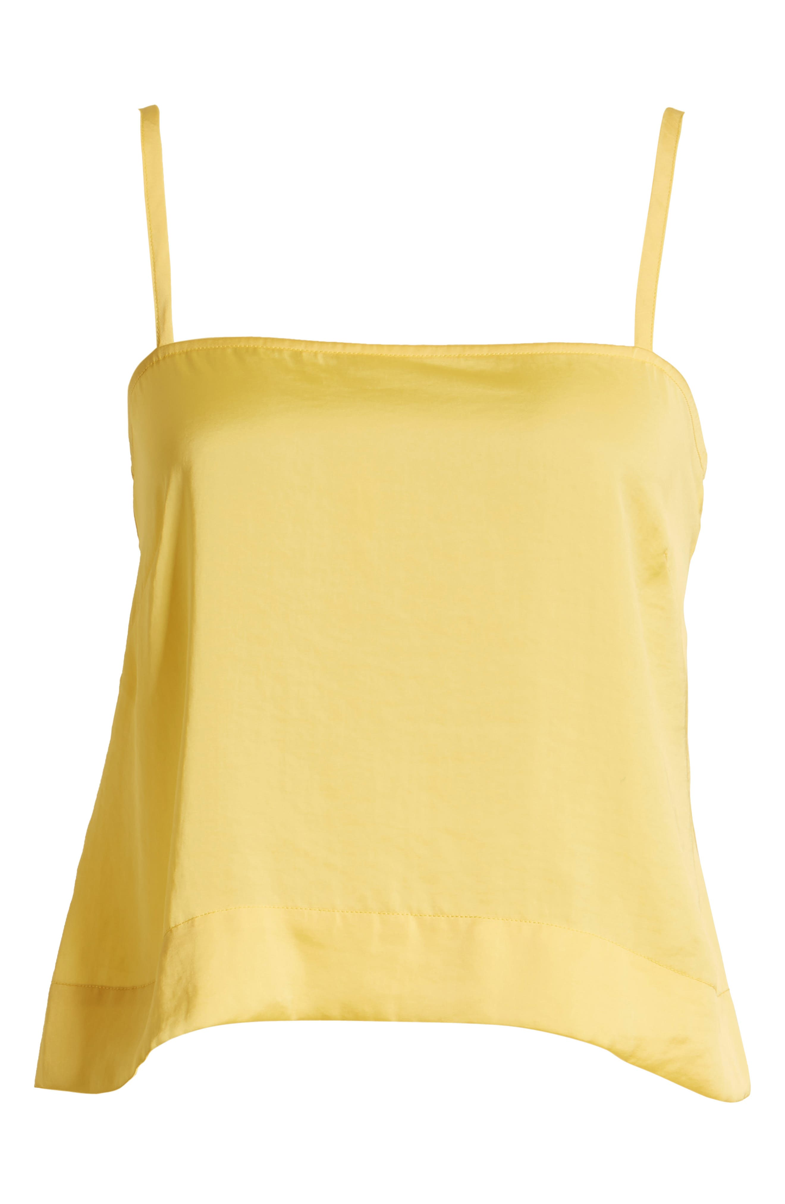 LEITH, Fluid Strappy Satin Camisole, Alternate thumbnail 6, color, YELLOW MERINGUE