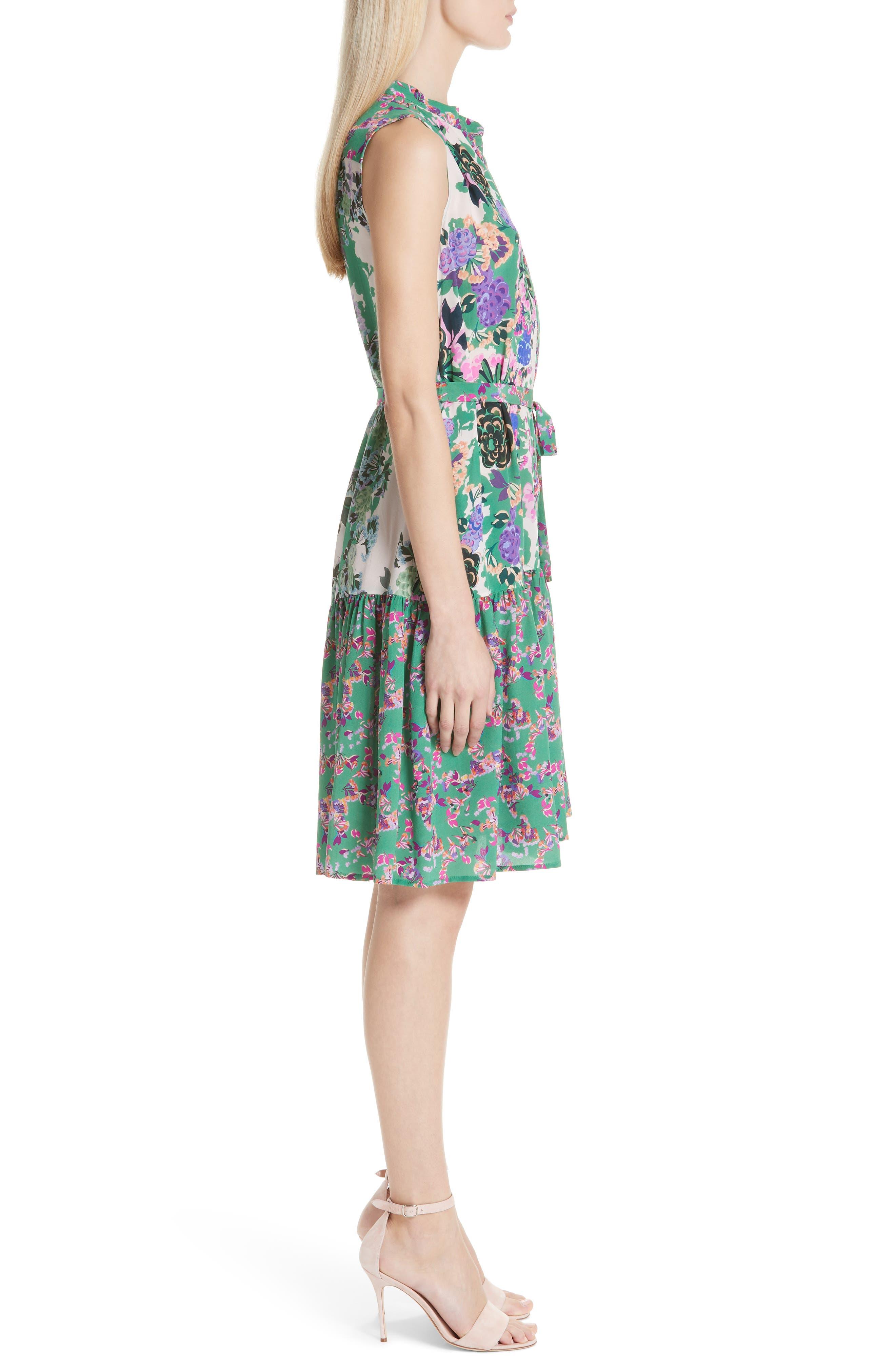 SALONI, Tilly Print Silk Dress, Alternate thumbnail 3, color, ROSE MEADOW PLMT