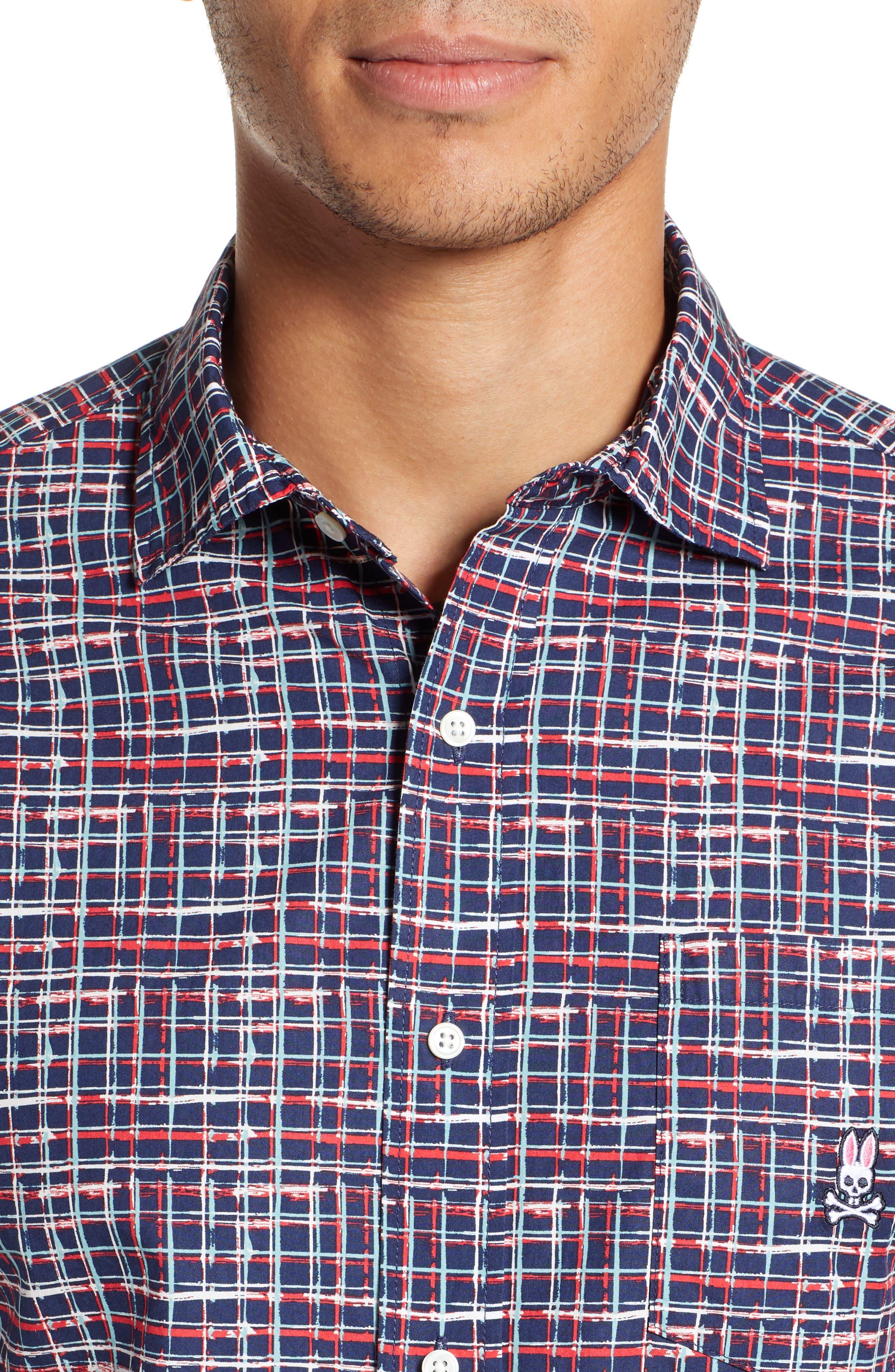PSYCHO BUNNY, Grid Print Camp Shirt, Alternate thumbnail 4, color, CASSIS