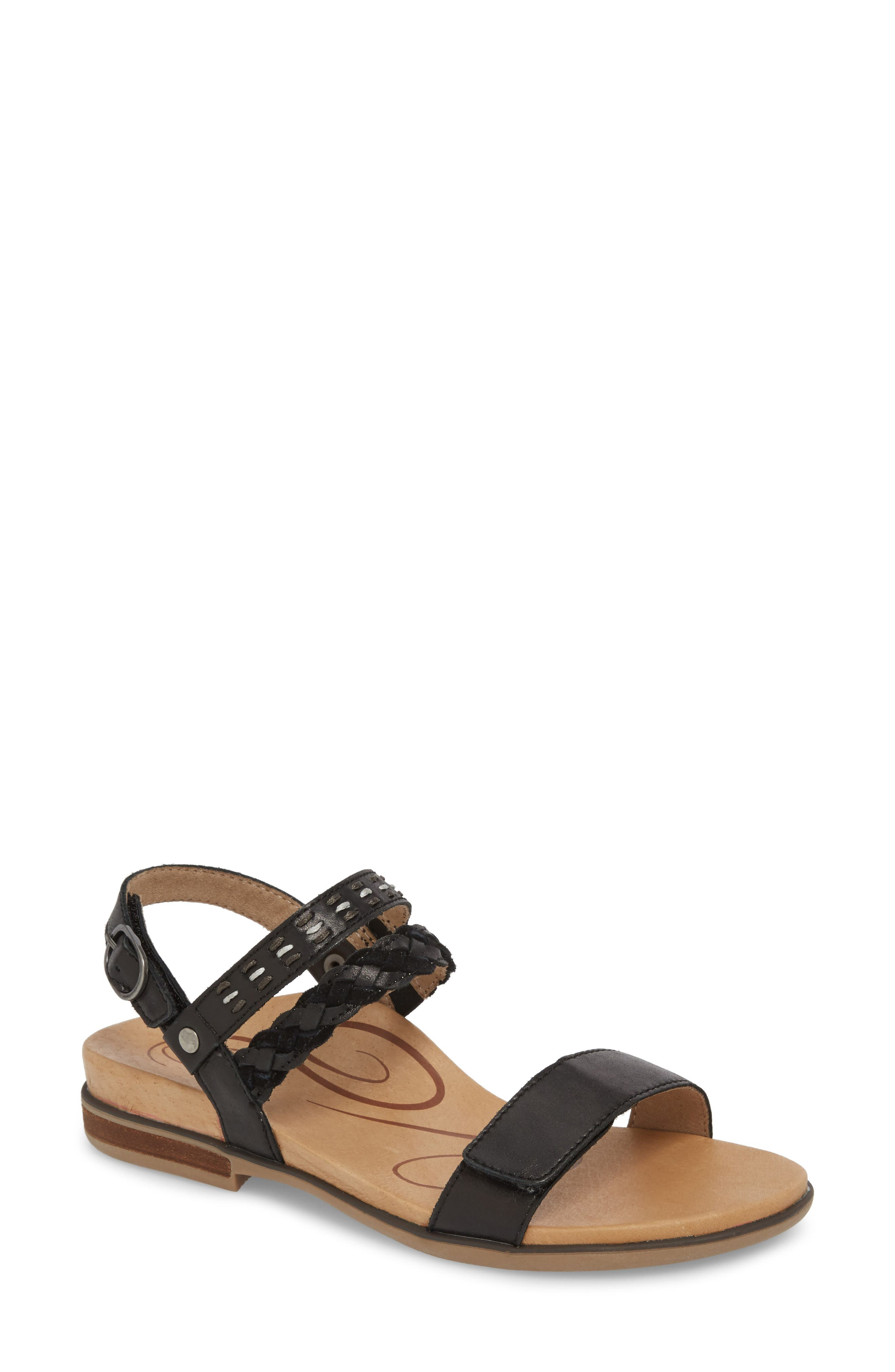 AETREX Celeste Sandal, Main, color, BLACK LEATHER
