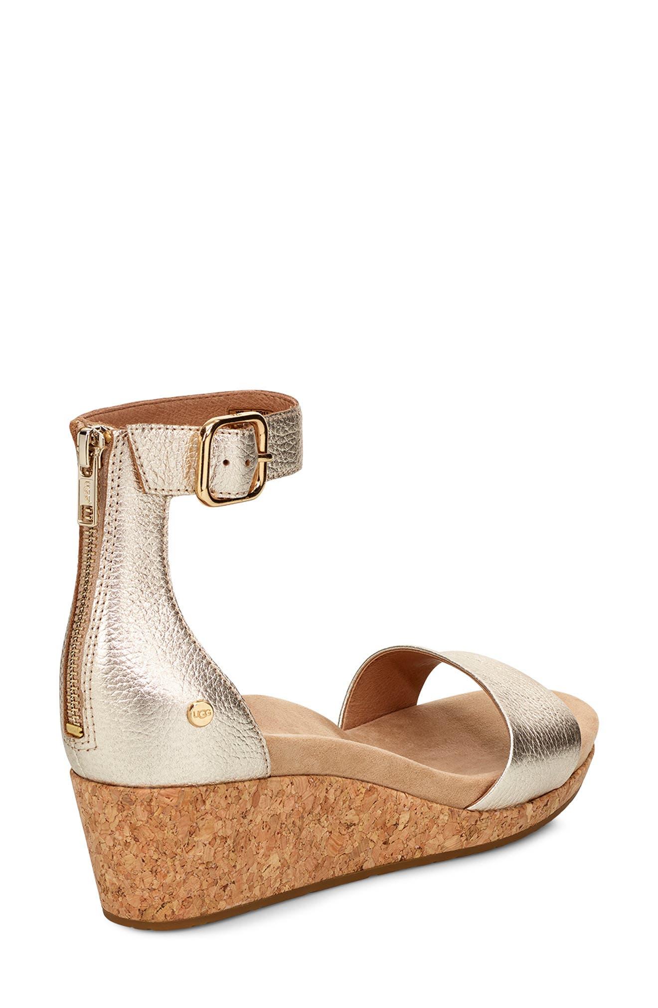 UGG<SUP>®</SUP>, Zoe II Metallic Wedge Sandal, Alternate thumbnail 2, color, GOLD LEATHER