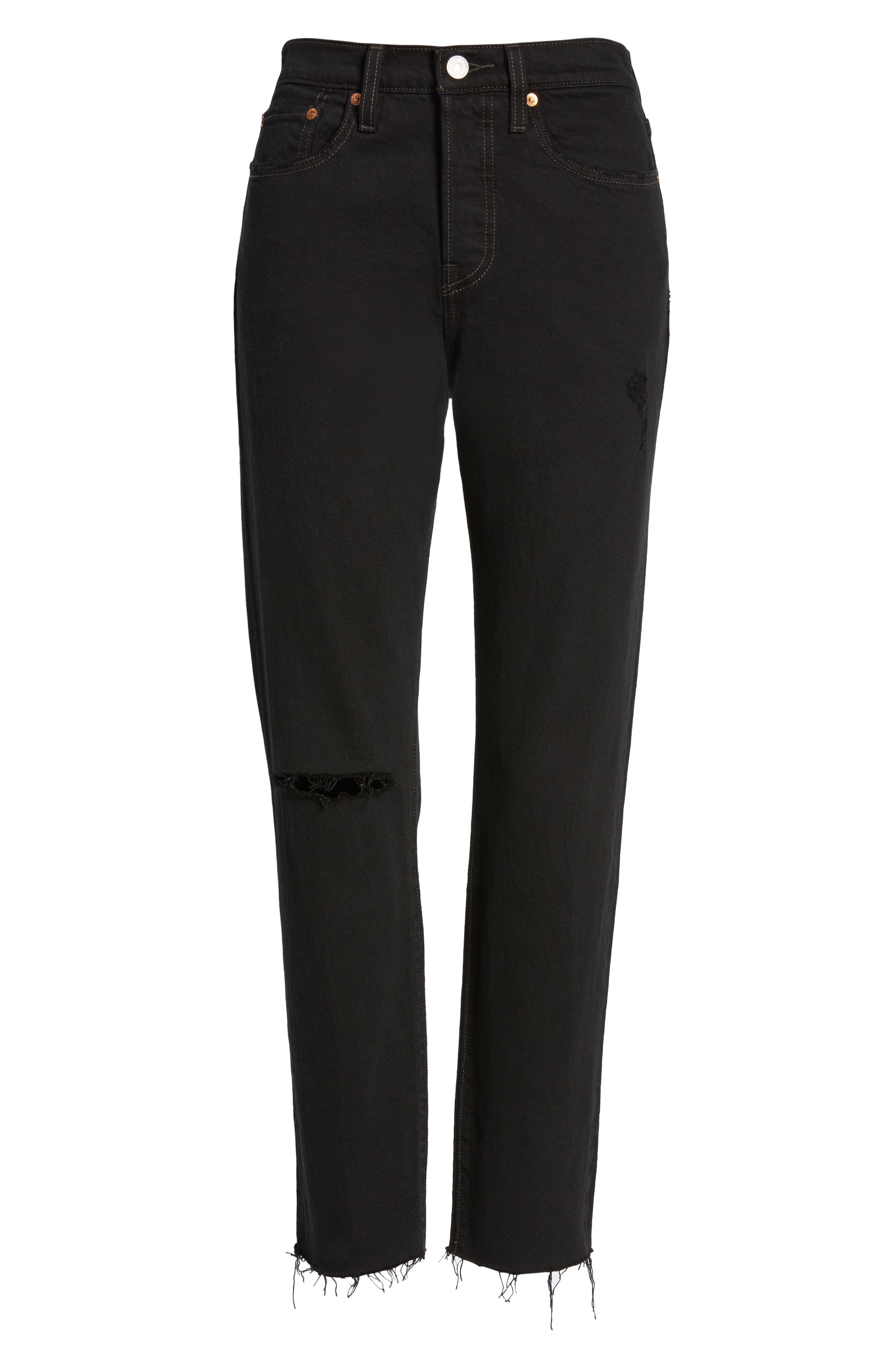 LEVI'S<SUP>®</SUP>, Wedgie Icon Fit High Waist Ripped Skinny Jeans, Alternate thumbnail 7, color, BLACK DESERT