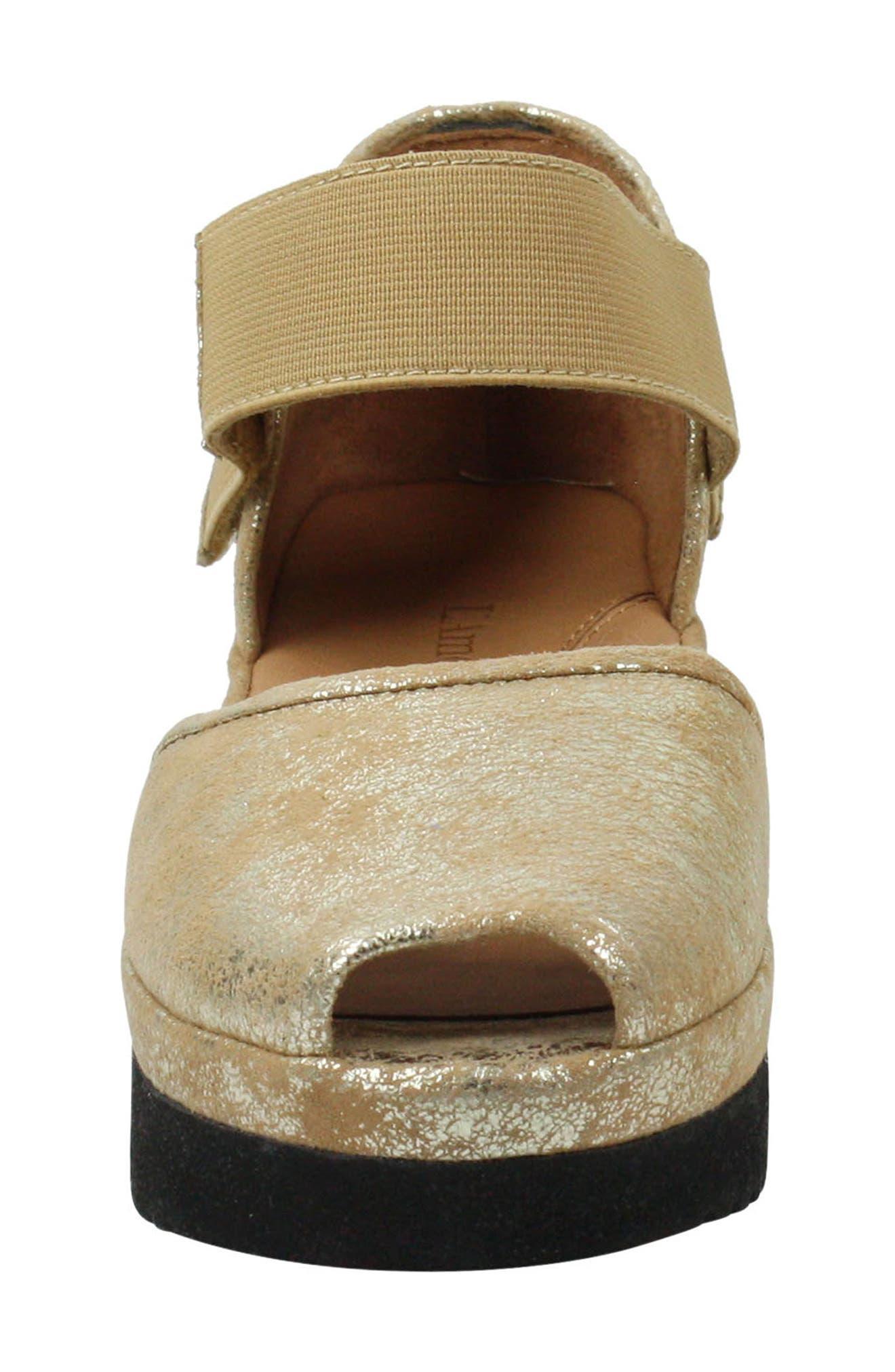 L'AMOUR DES PIEDS, 'Amadour' Platform Sandal, Alternate thumbnail 4, color, GOLD LEATHER