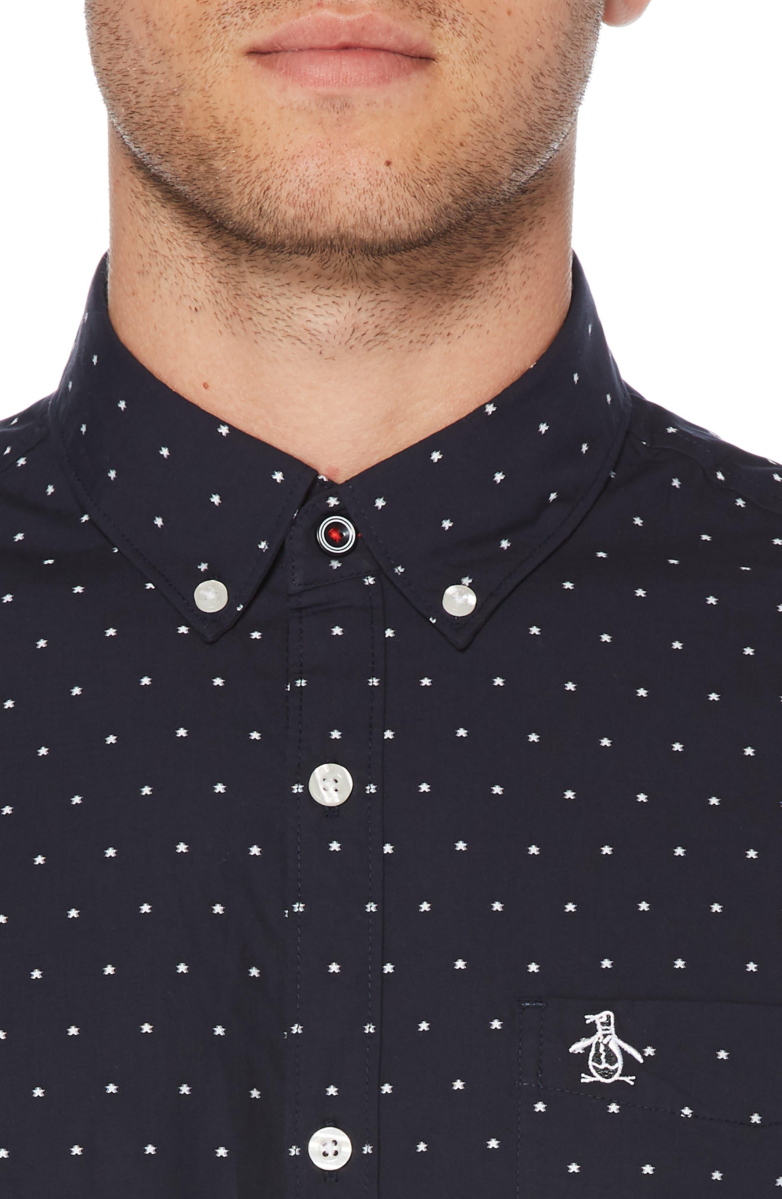 ORIGINAL PENGUIN, Star Dobby Sport Shirt, Alternate thumbnail 2, color, DARK SAPPHIRE