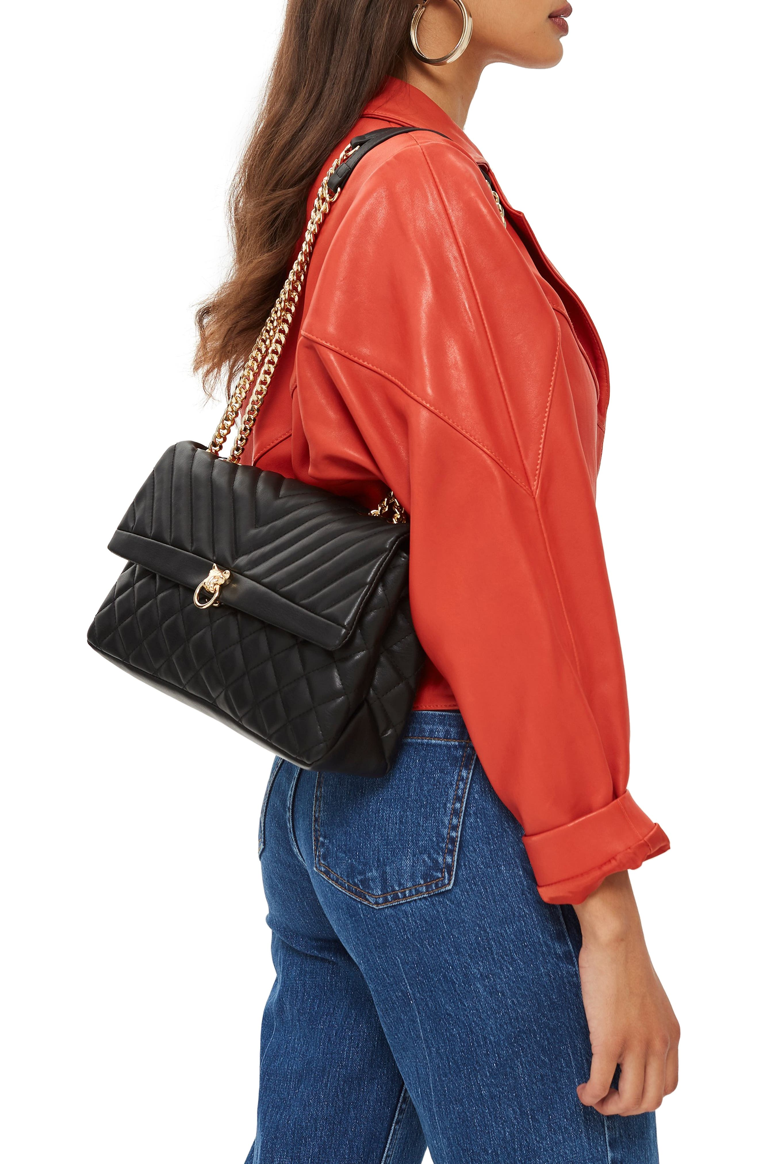 TOPSHOP, Panther Quilted Faux Leather Shoulder Bag, Alternate thumbnail 2, color, 001