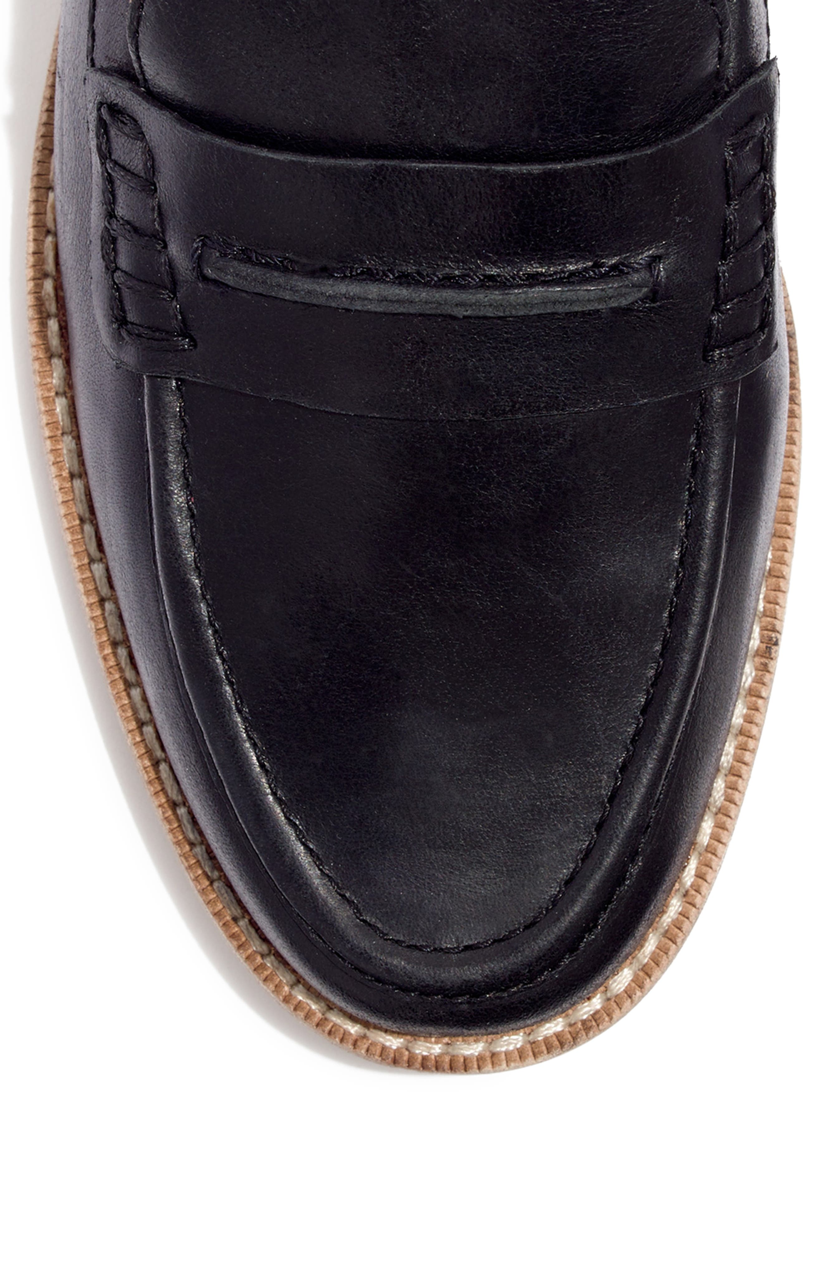 MADEWELL, The Elinor Loafer, Alternate thumbnail 8, color, BLACK LEATHER