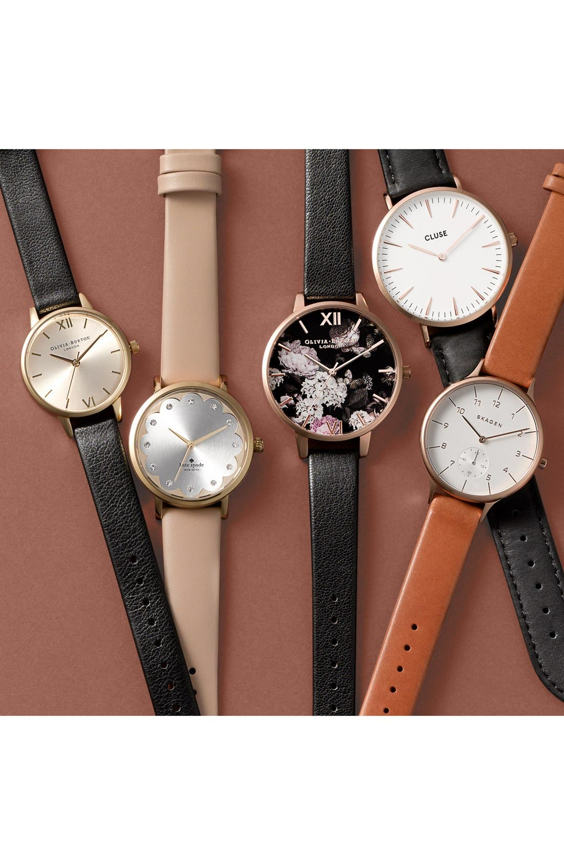SKAGEN, 'Anita' Leather Strap Watch, 34mm, Alternate thumbnail 6, color, BROWN/ ROSE GOLD/ WHITE