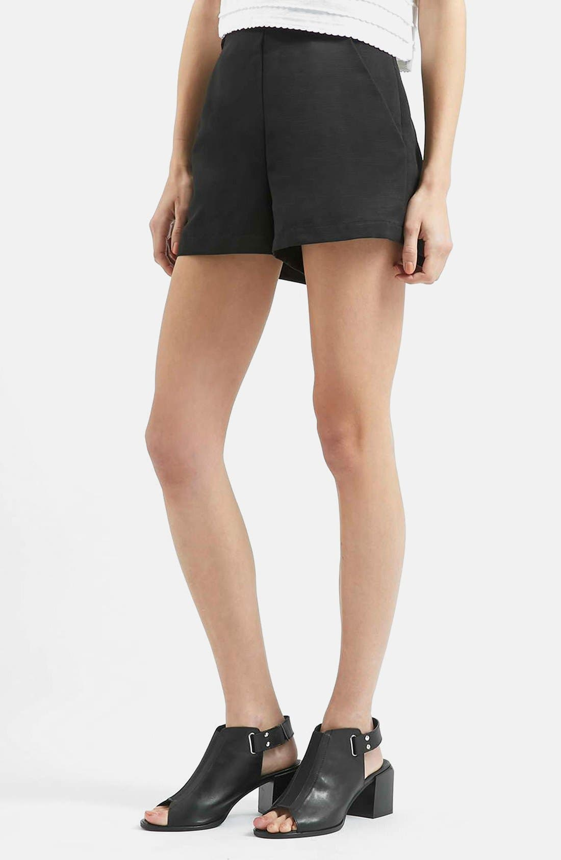 TOPSHOP High Rise Button Tab Shorts, Main, color, 001