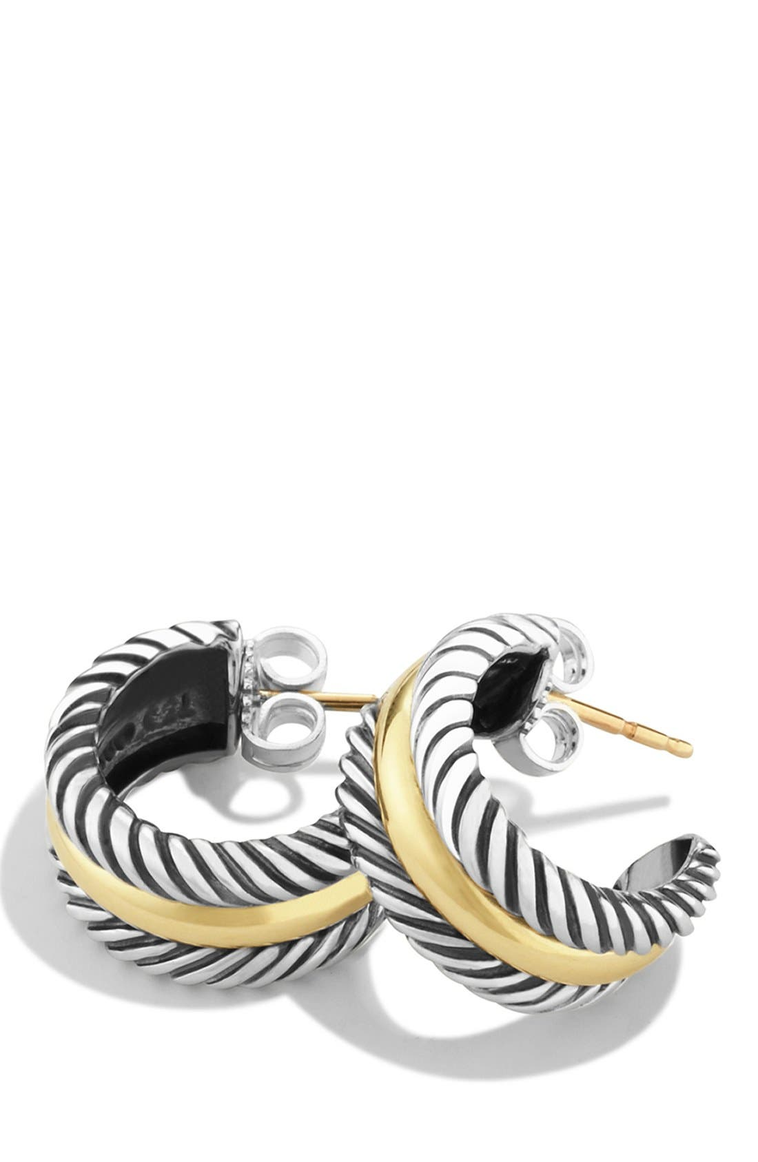 DAVID YURMAN, 'Cable Classics' Hoop Earrings with Gold, Alternate thumbnail 3, color, TWO TONE