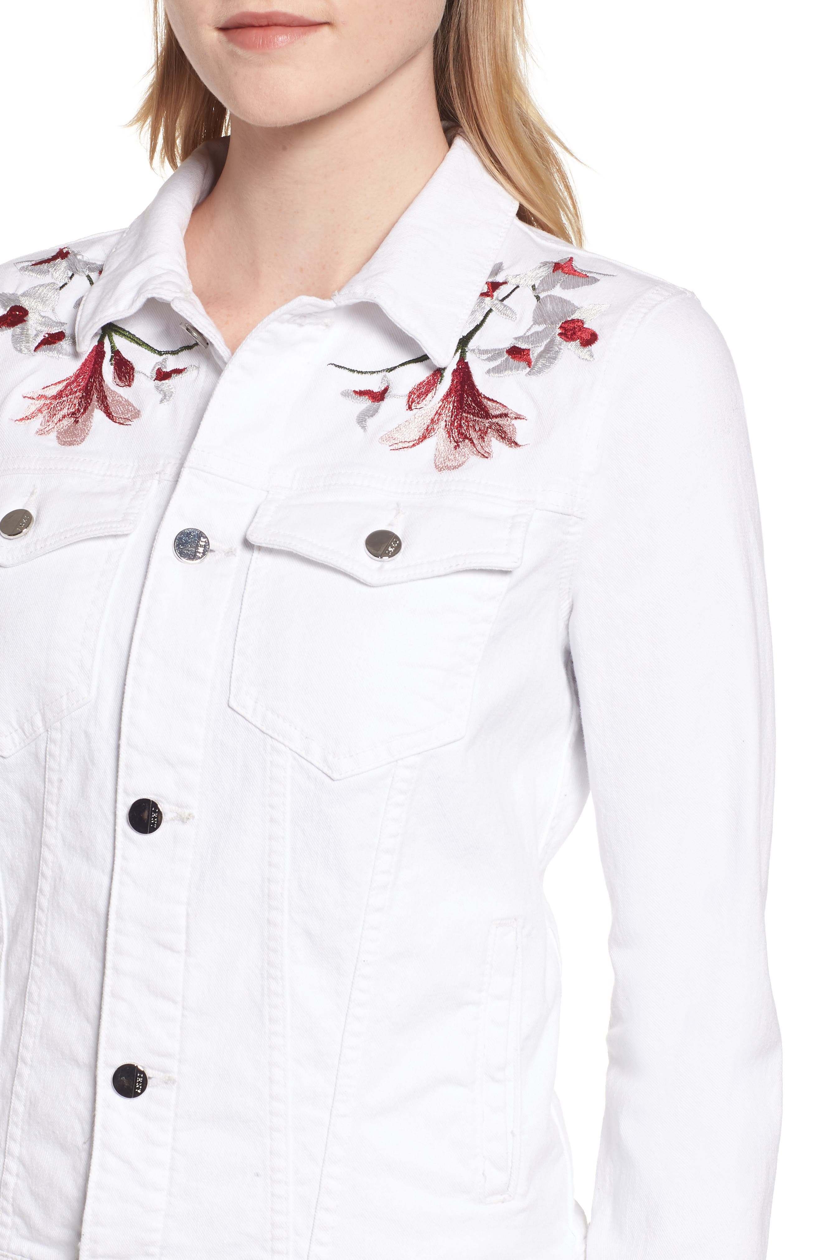 JEN7 BY 7 FOR ALL MANKIND, Embroidered Denim Jacket, Alternate thumbnail 5, color, 102