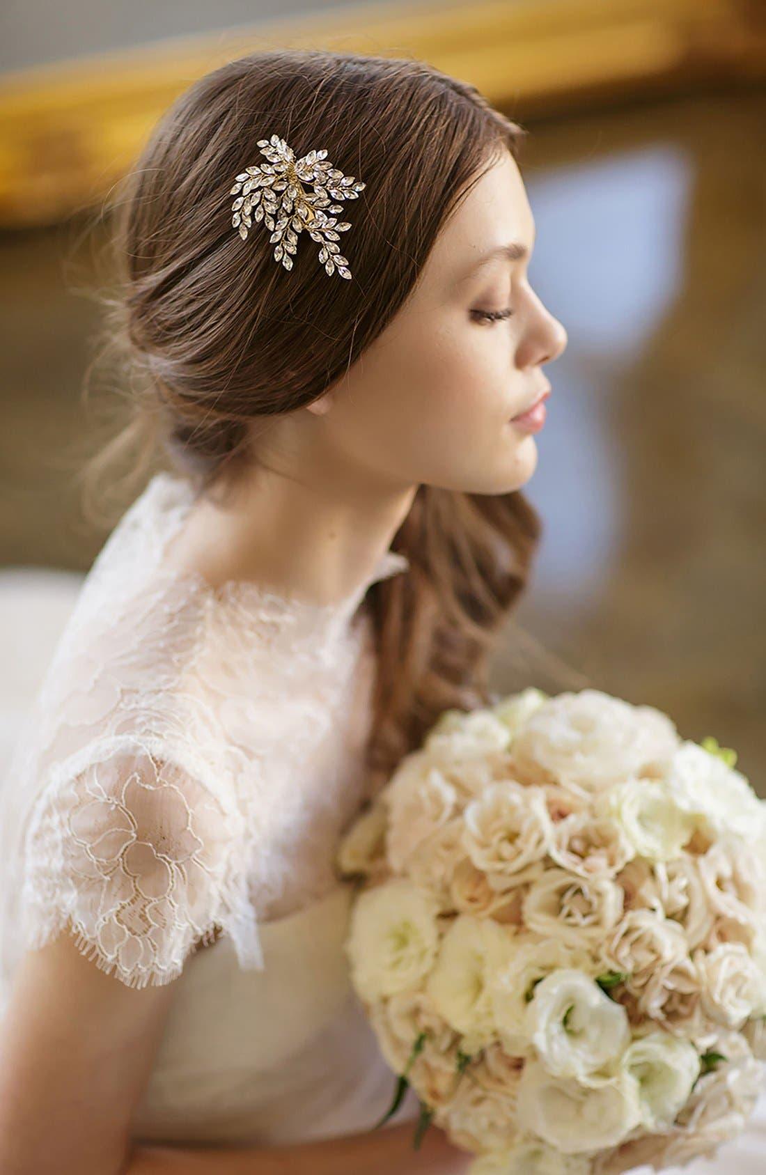 BRIDES & HAIRPINS, 'Sahara' Crystal Leaf Bendable Hair Clip, Alternate thumbnail 6, color, GOLD