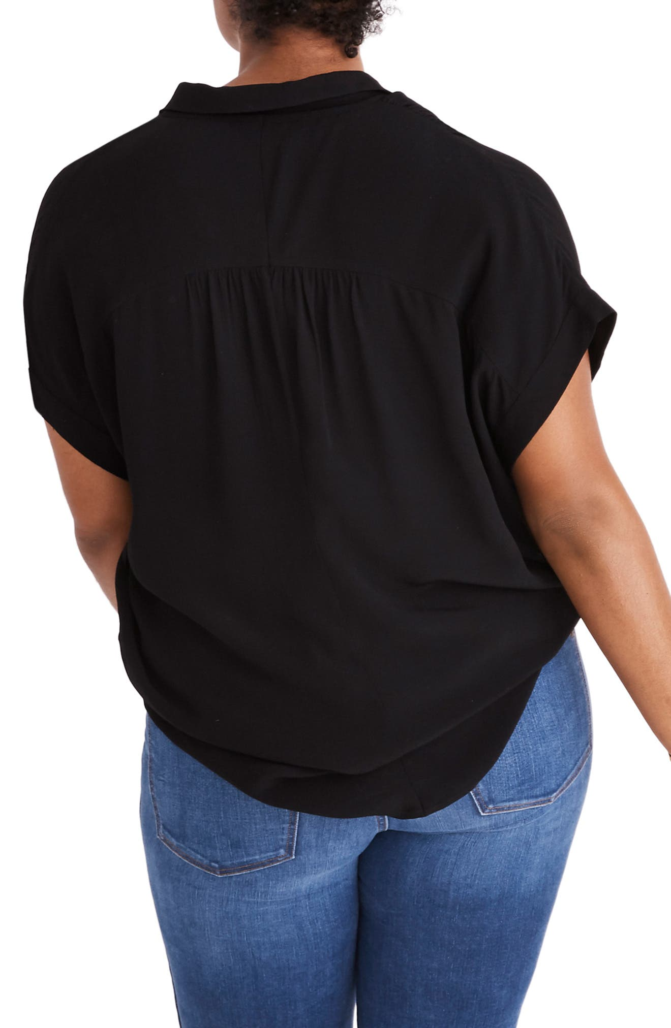 MADEWELL, Central Drapey Shirt, Alternate thumbnail 6, color, TRUE BLACK