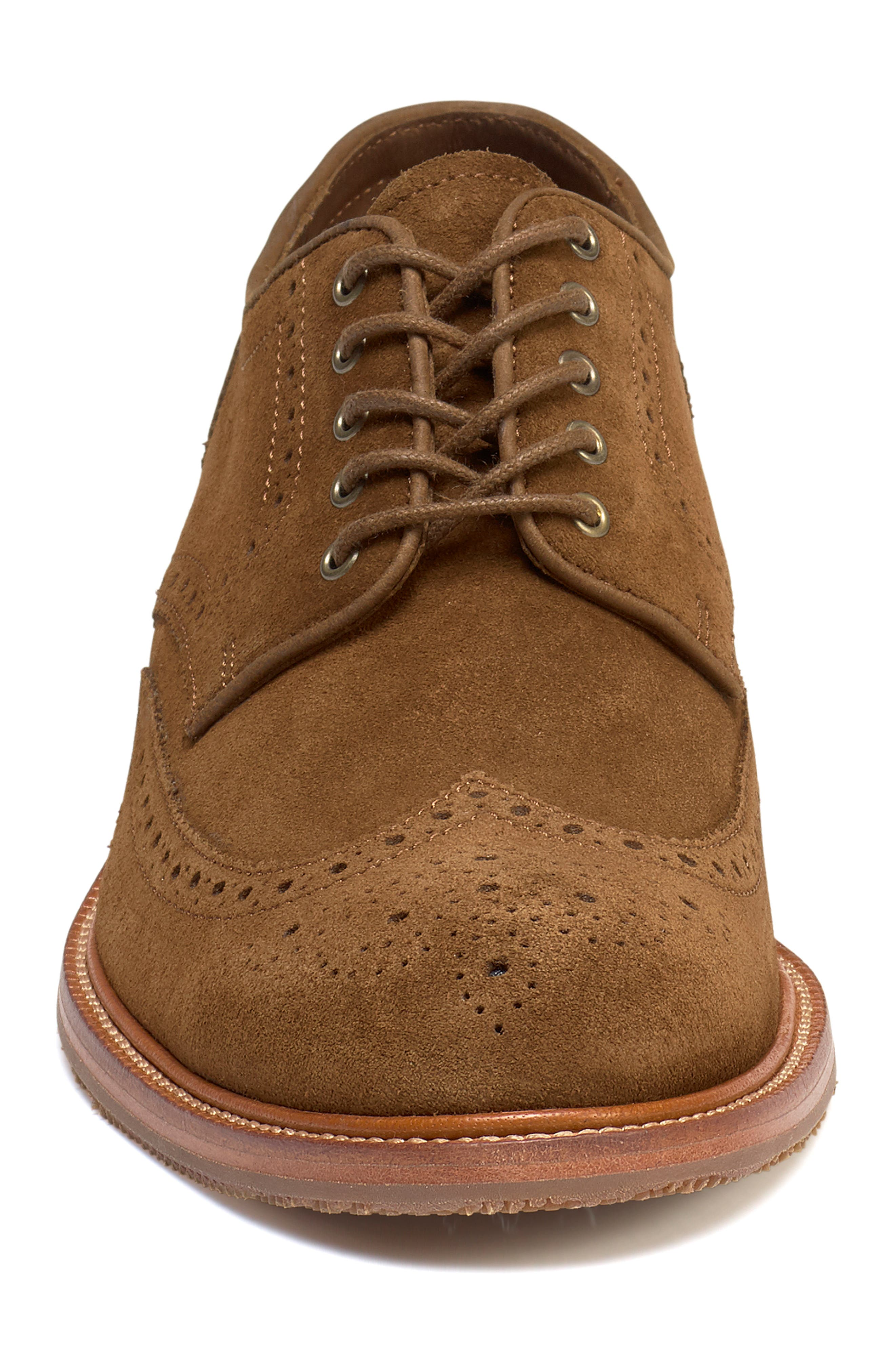 TRASK, Logan Wingtip Derby, Alternate thumbnail 4, color, SNUFF SUEDE