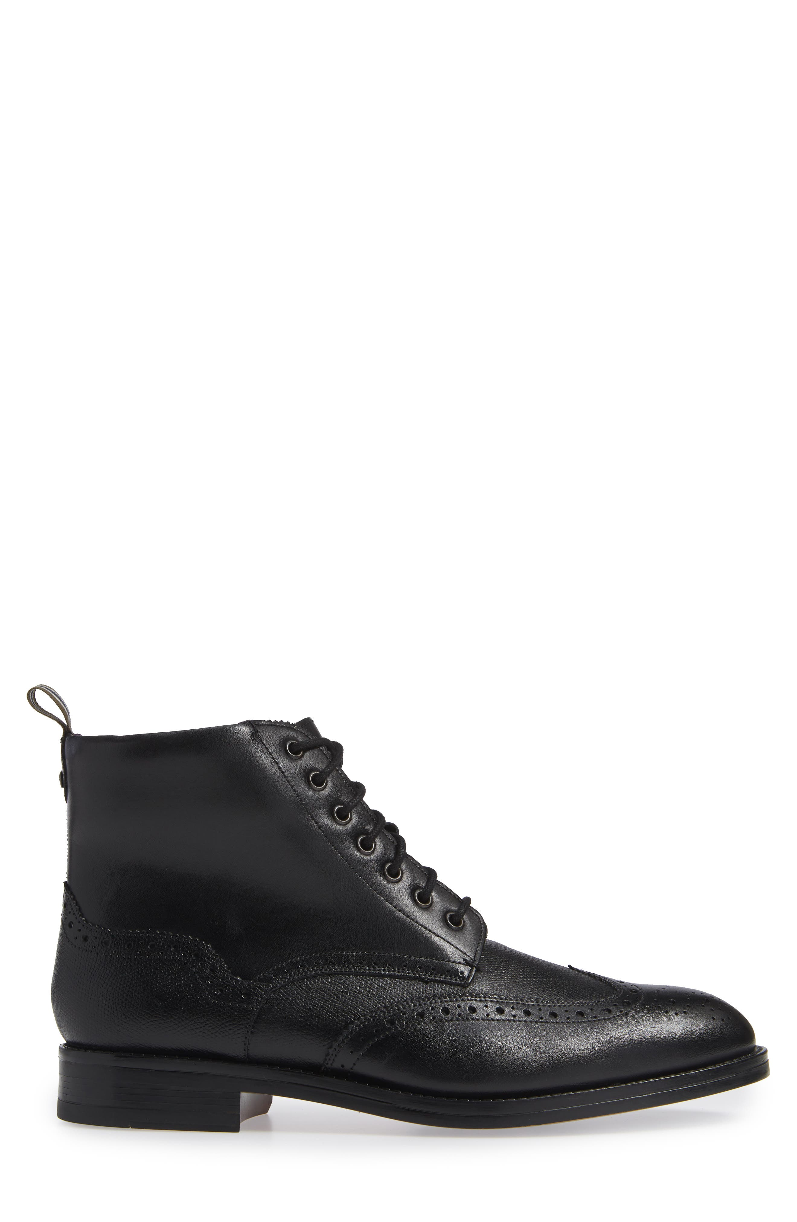 TED BAKER LONDON, Twrens Wingtip Boot, Alternate thumbnail 3, color, BLACK LEATHER