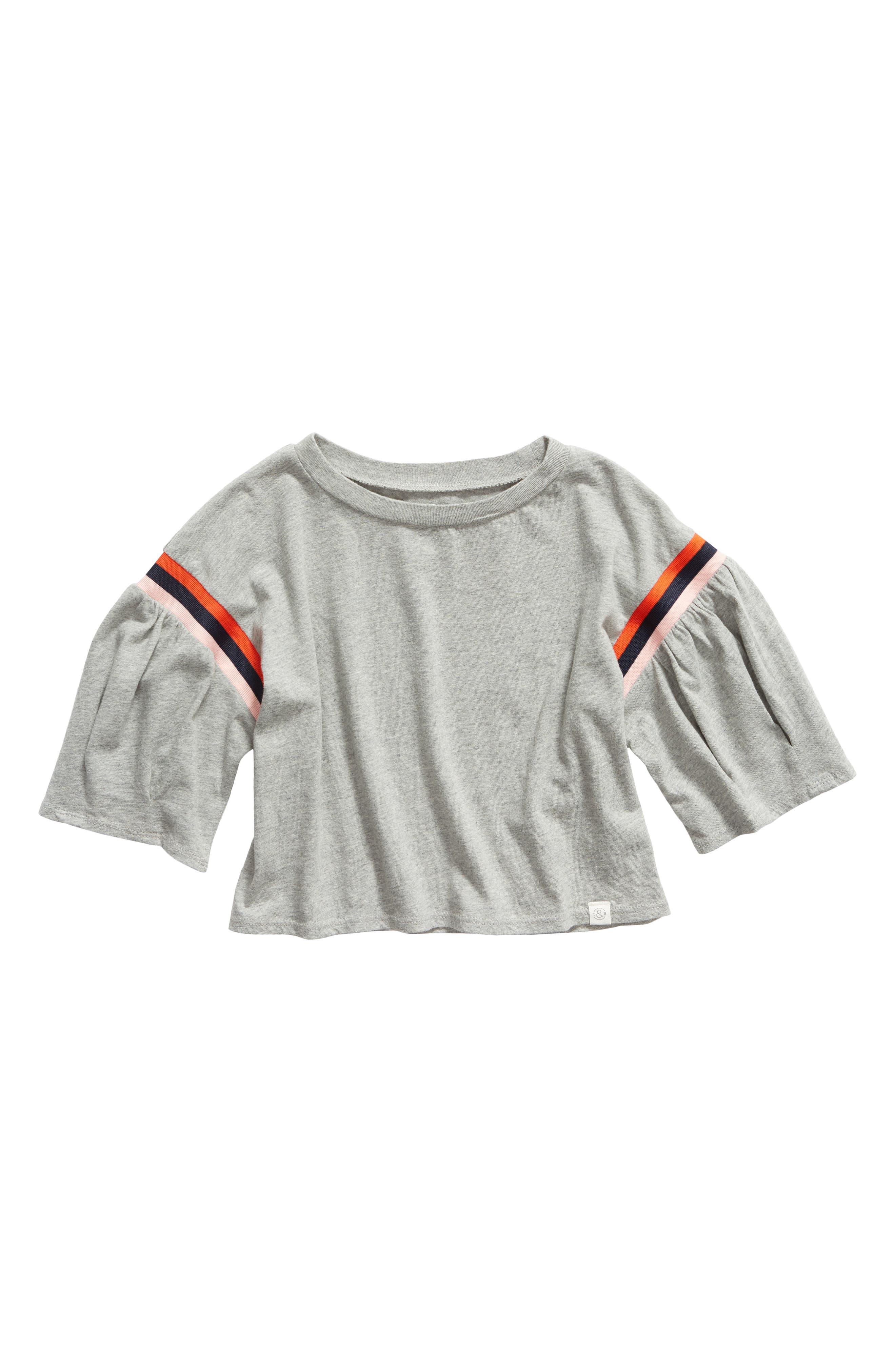 TREASURE & BOND Tuck Sleeve Top, Main, color, GREY MEDIUM HEATHER