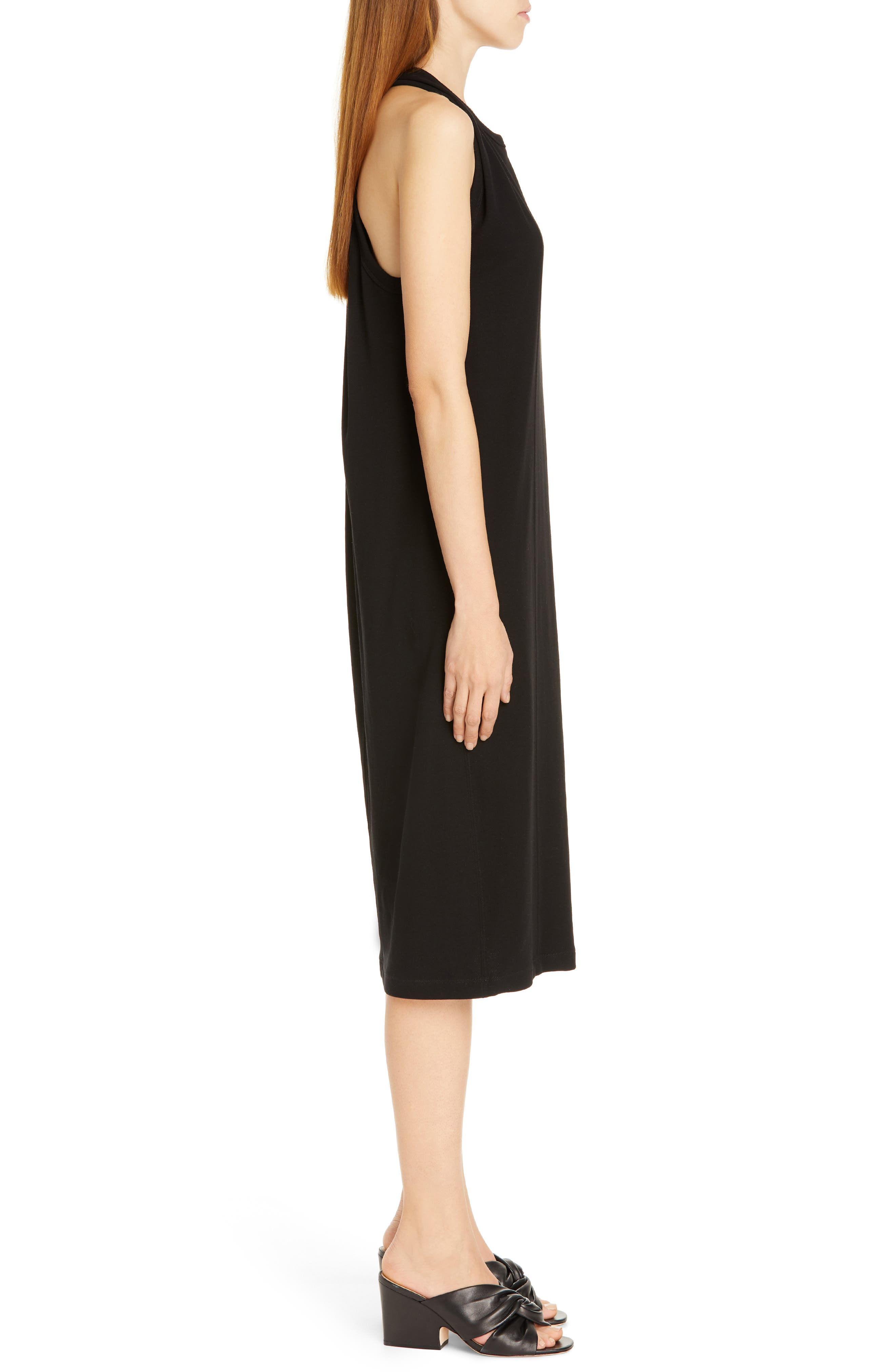 HELMUT LANG, Halter Neck Cotton Jersey Dress, Alternate thumbnail 4, color, BLACK