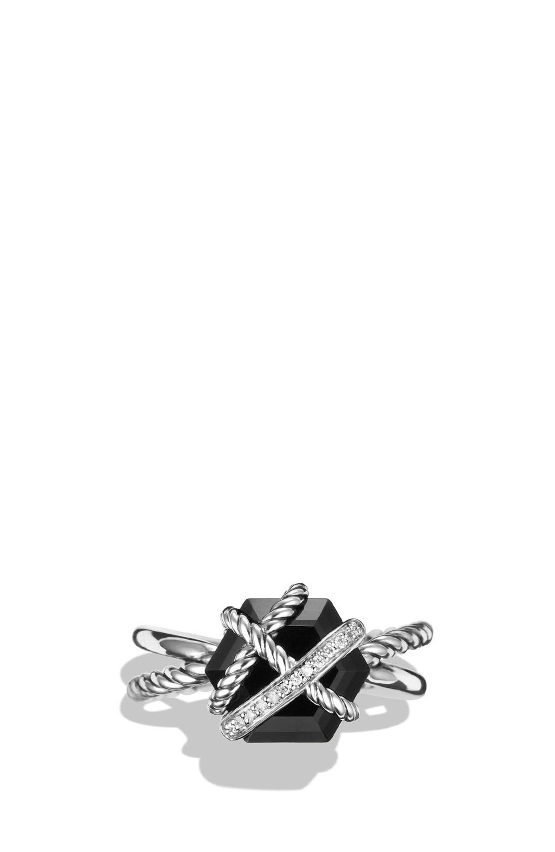 DAVID YURMAN, Cable Wrap Ring with Semiprecious Stone and Diamonds, Alternate thumbnail 4, color, BLACK ONYX