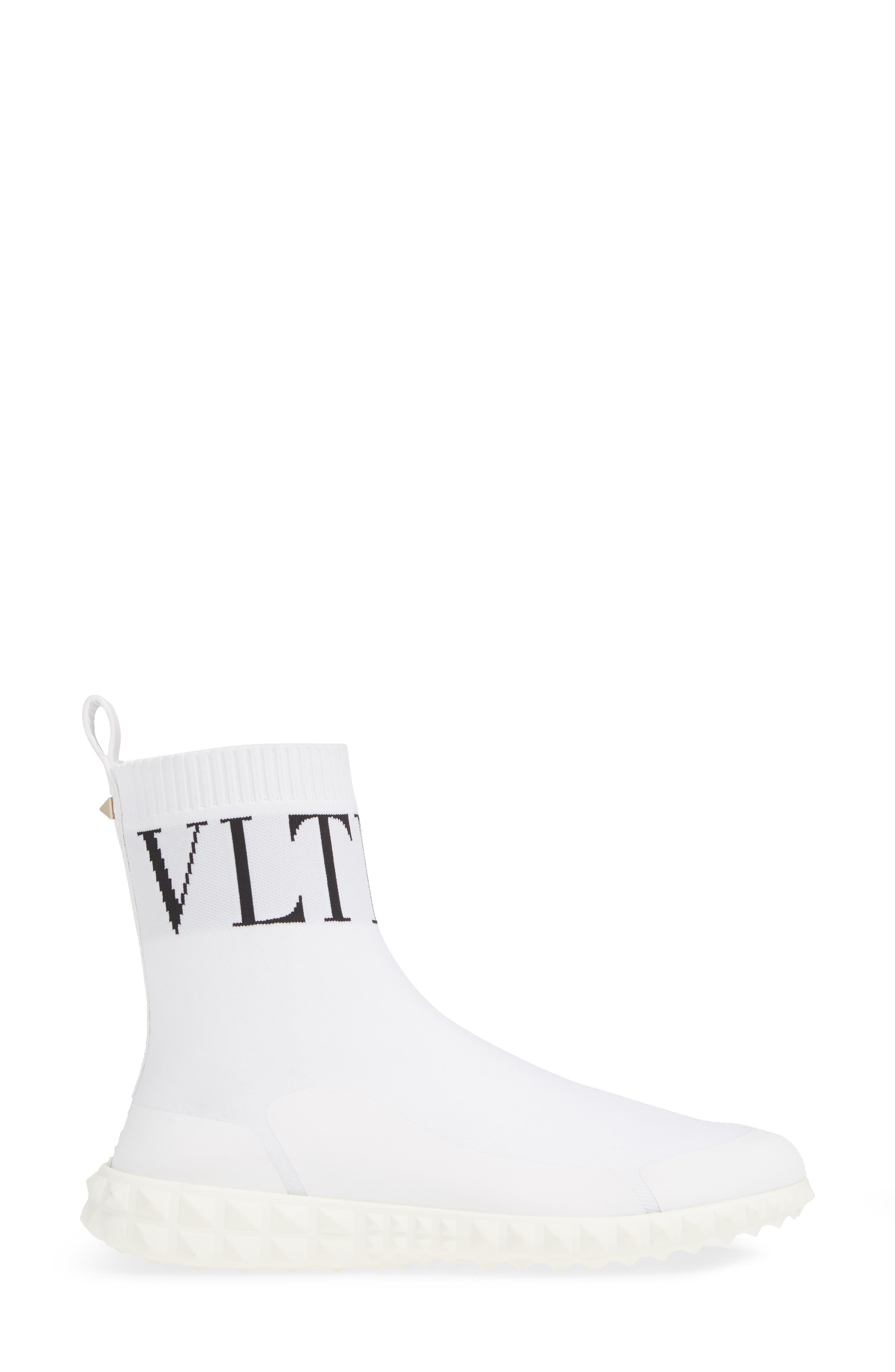 VALENTINO GARAVANI, VLTN Slip-On Sock Sneaker, Alternate thumbnail 3, color, WHITE