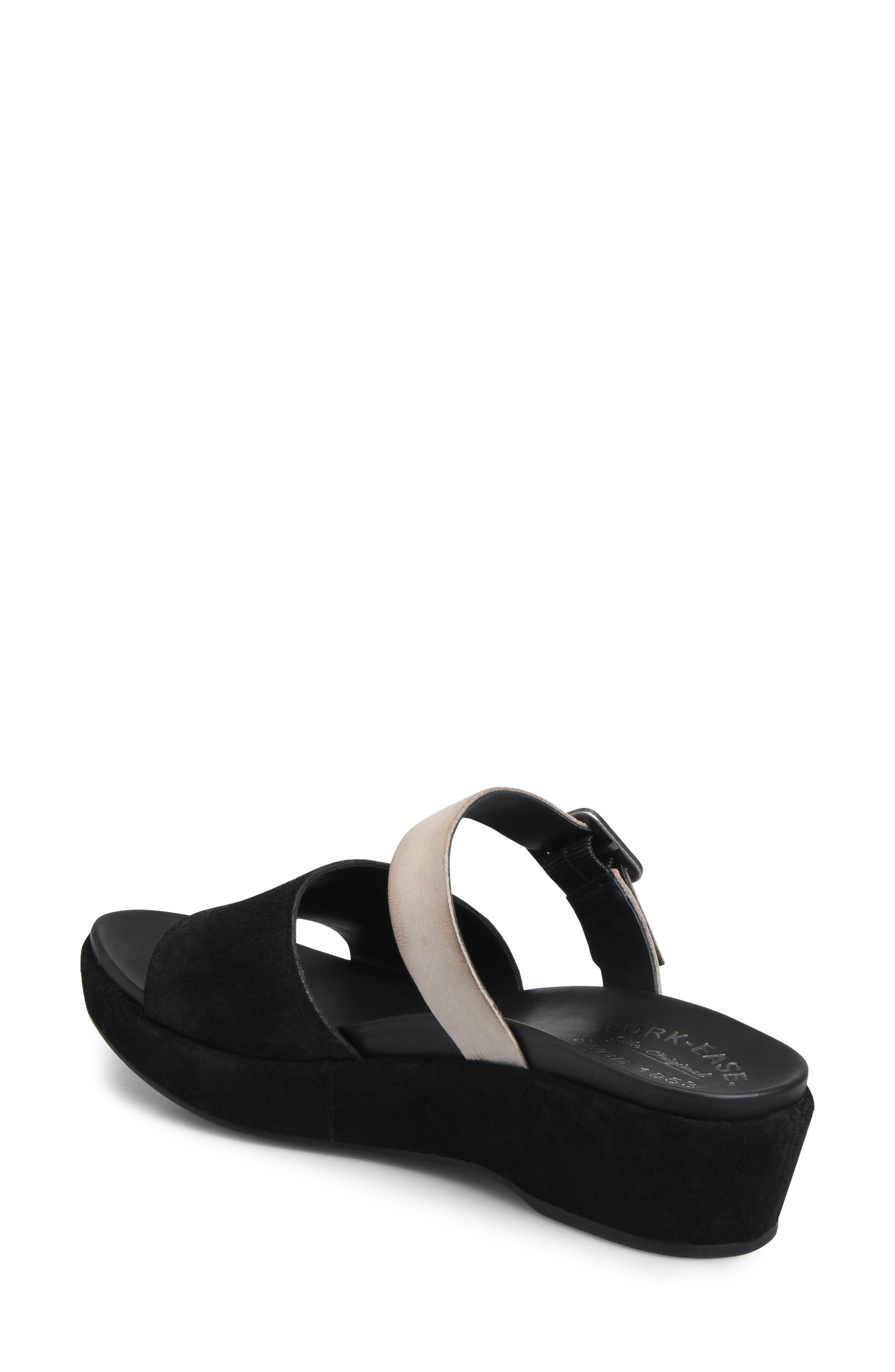 KORK-EASE<SUP>®</SUP>, Bisti Wedge Slide Sandal, Alternate thumbnail 2, color, BLACK/ GREY LEATHER