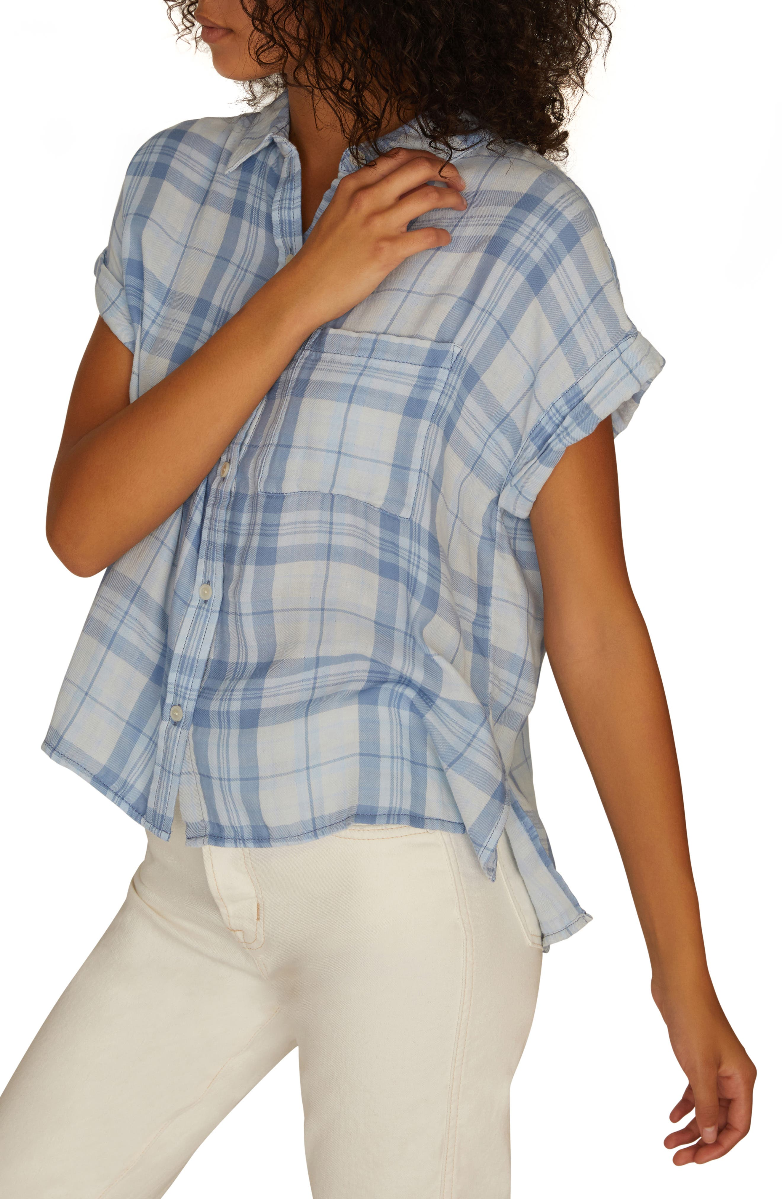 SANCTUARY, Mod Short Sleeve Boyfriend Shirt, Alternate thumbnail 3, color, BLEACH OUT WHITE