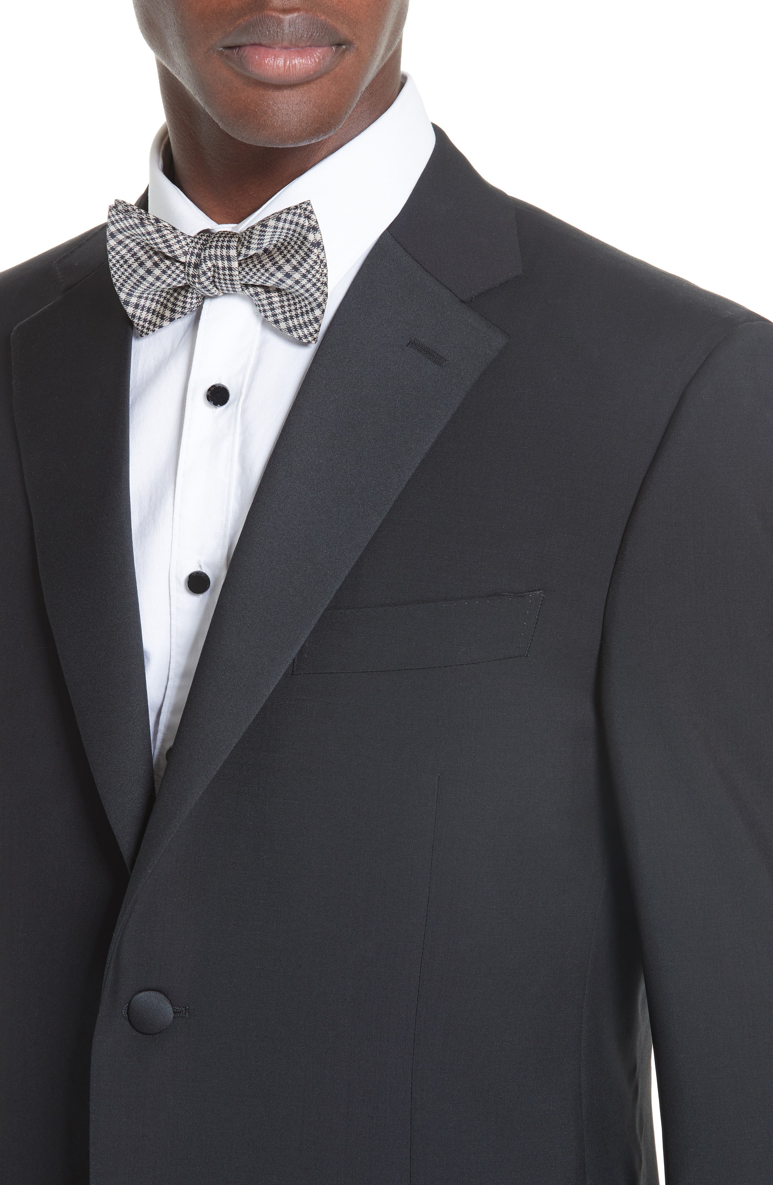 CANALI, 13000 Classic Fit Wool & Mohair Tuxedo, Alternate thumbnail 4, color, BLACK