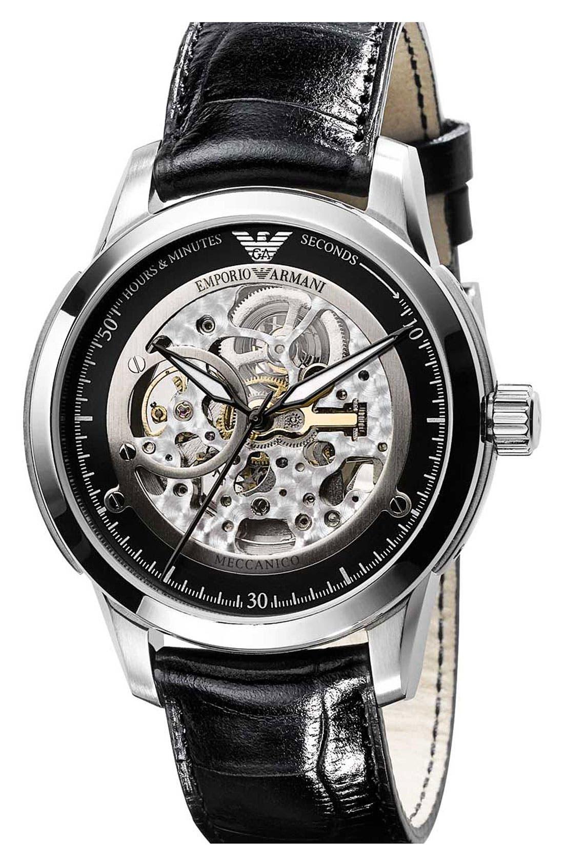 EMPORIO ARMANI, 'Meccanico' Automatic Round Watch, Main thumbnail 1, color, 001