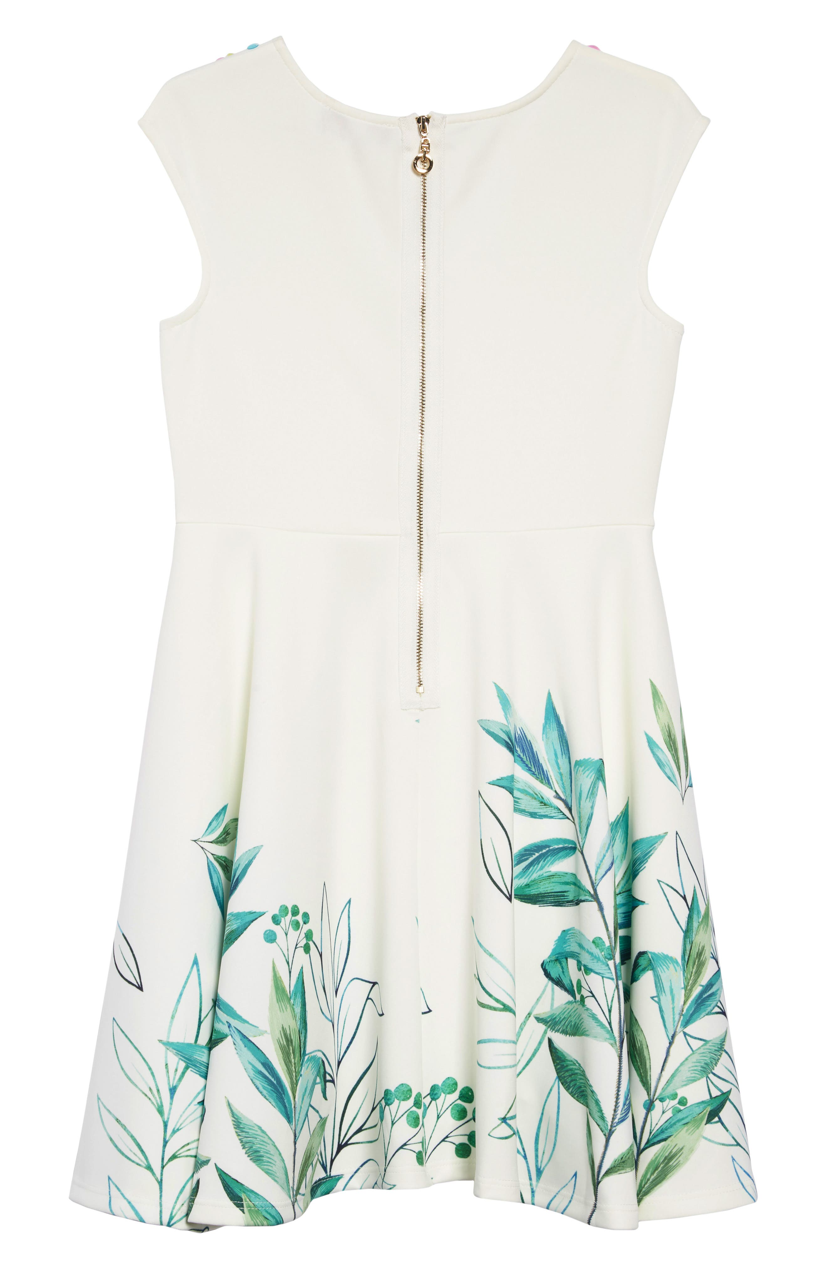 HANNAH BANANA, Leafy Print Embellished Dress, Alternate thumbnail 2, color, 100