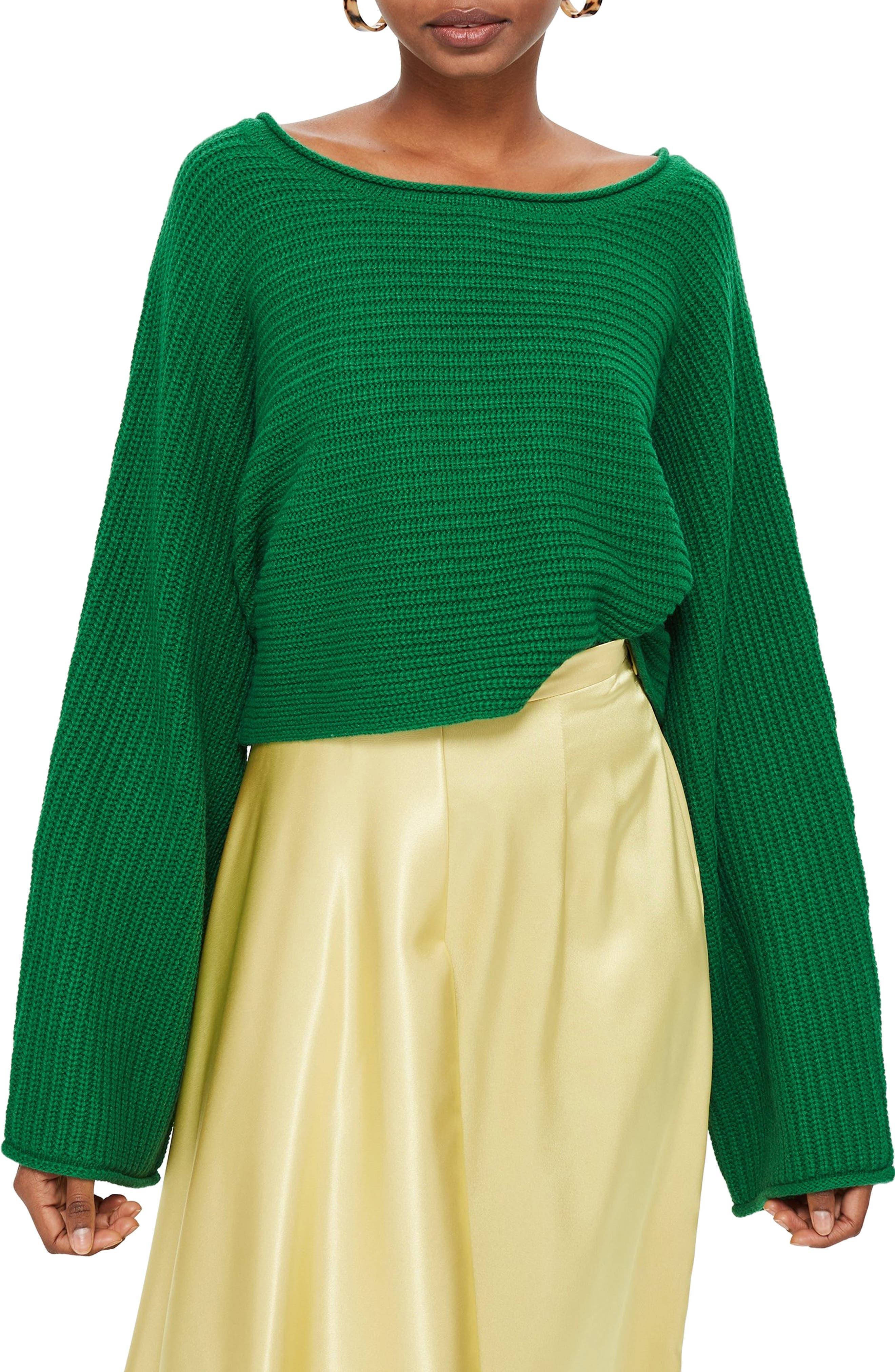 TOPSHOP, Roll Edge Crop Sweater, Main thumbnail 1, color, 300