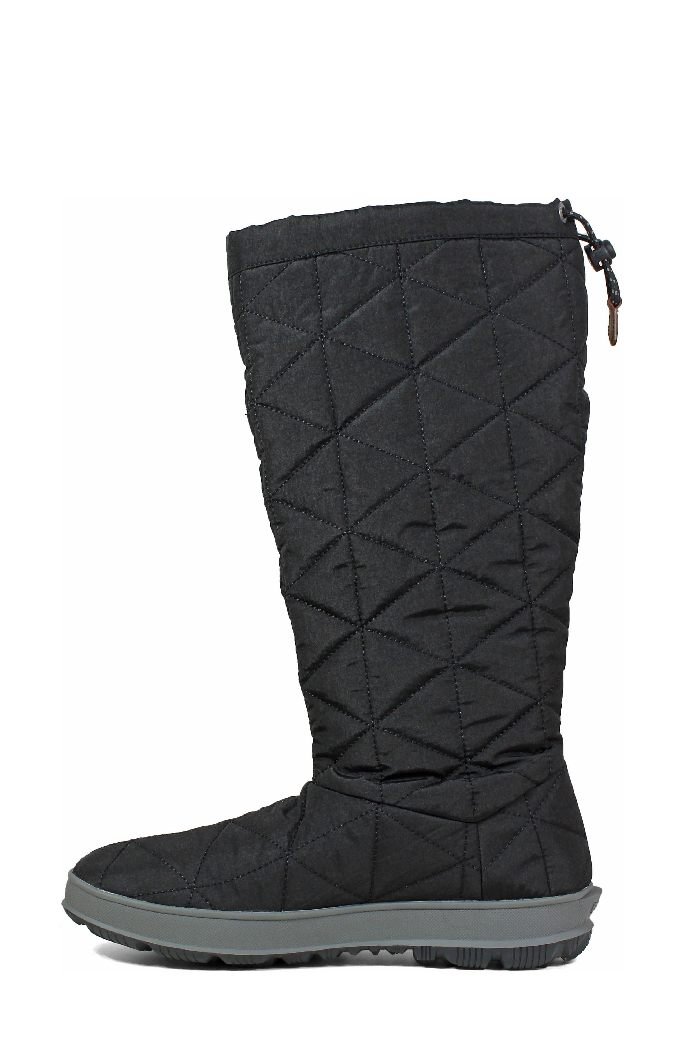 BOGS, Snowday Tall Waterproof Quilted Snow Boot, Alternate thumbnail 7, color, BLACK