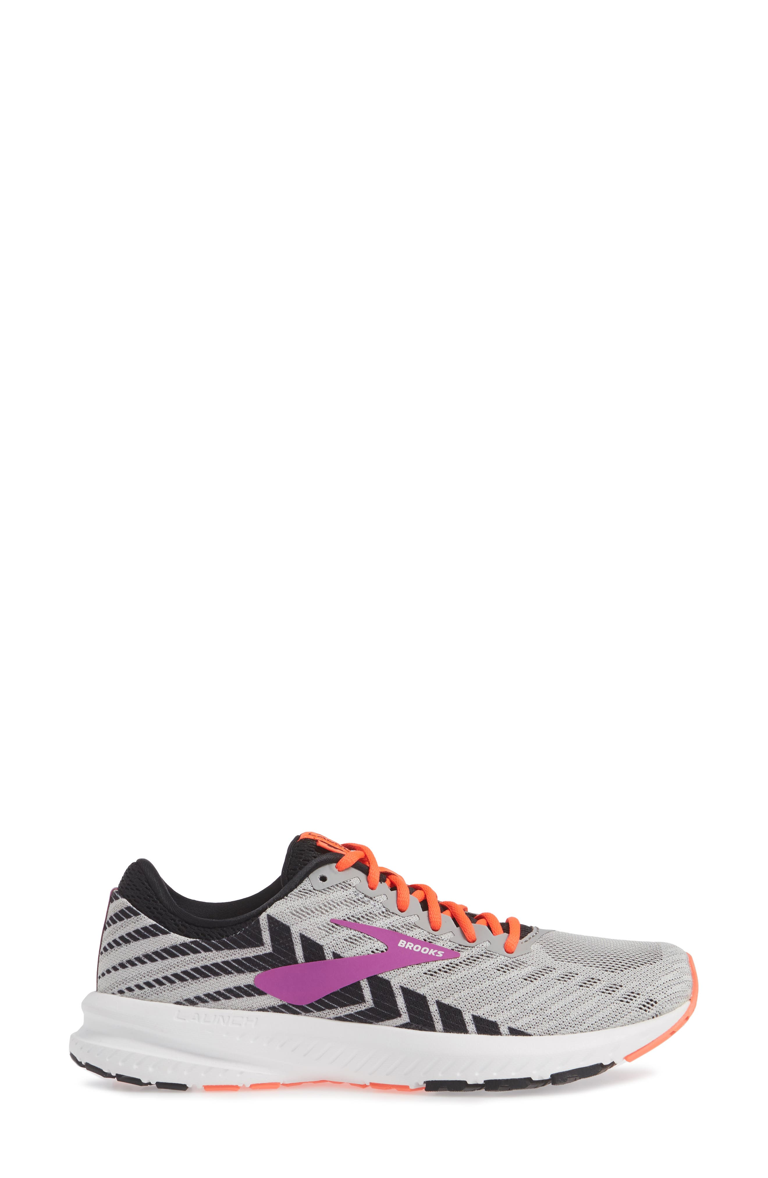 BROOKS, Launch 6 Running Shoe, Alternate thumbnail 3, color, GREY/ BLACK/ PURPLE