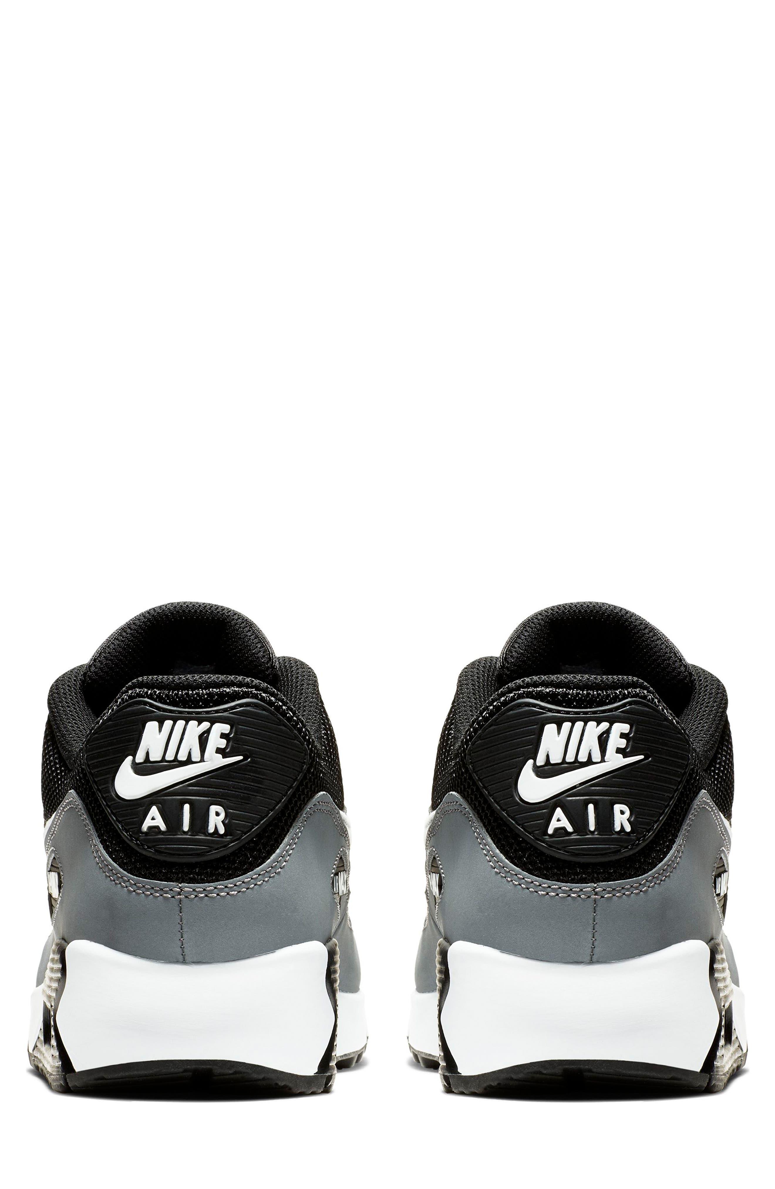 NIKE, Air Max 90 Essential Sneaker, Alternate thumbnail 5, color, BLACK/ WHITE/ COOL GREY