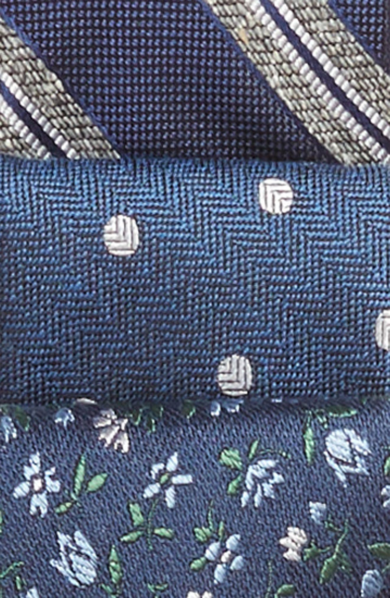 THE TIE BAR, 3-Pack Navy Tie Gift Set, Alternate thumbnail 3, color, NAVY