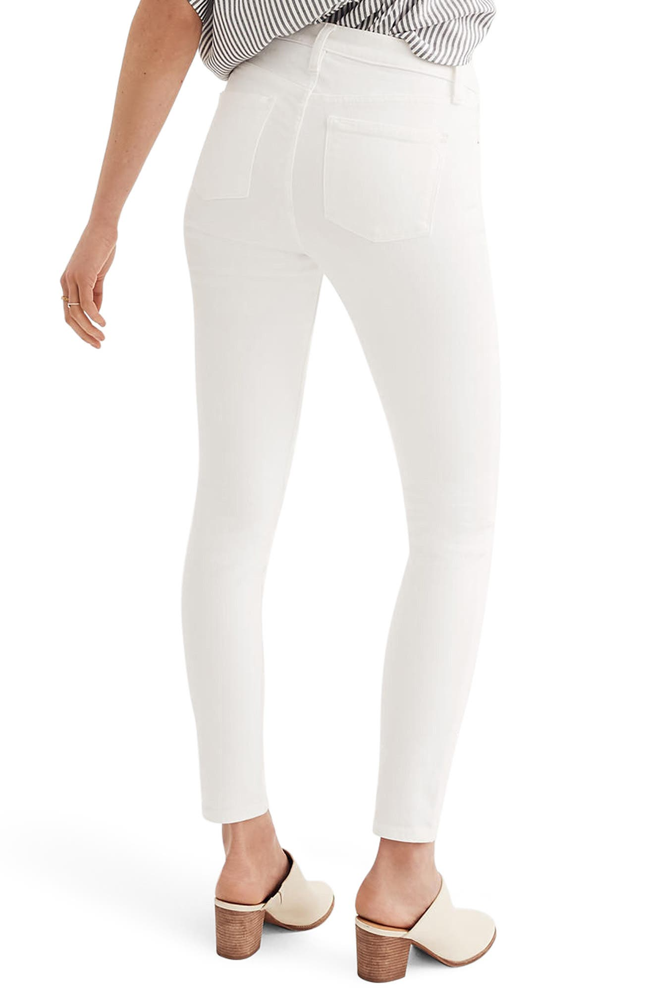 MADEWELL, 9-Inch High Waist Skinny Jeans, Alternate thumbnail 2, color, PURE WHITE