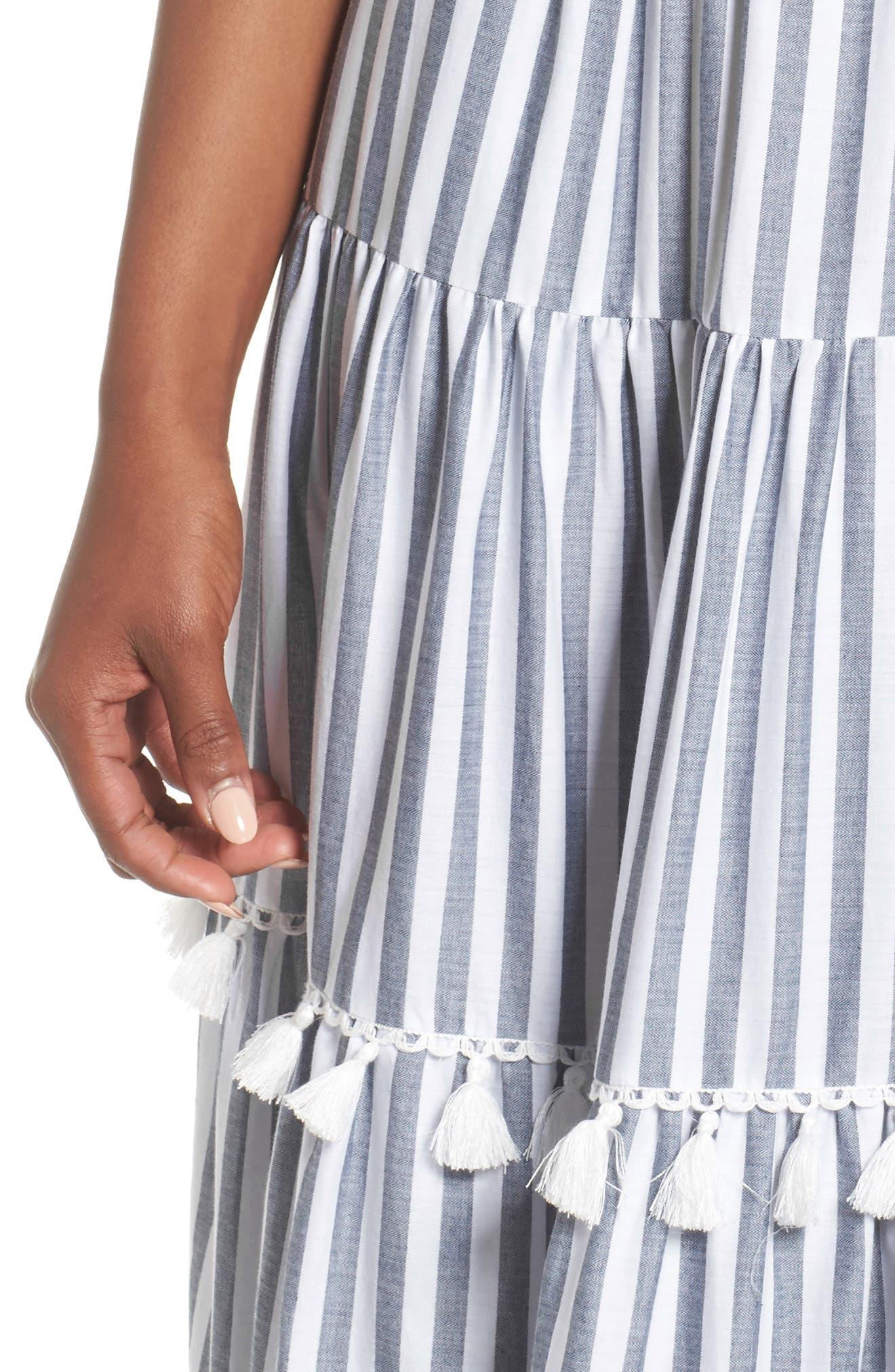 ELIZA J, Tiered Tassel Fringe Cotton Maxi Dress, Alternate thumbnail 5, color, IVORY/ GREY