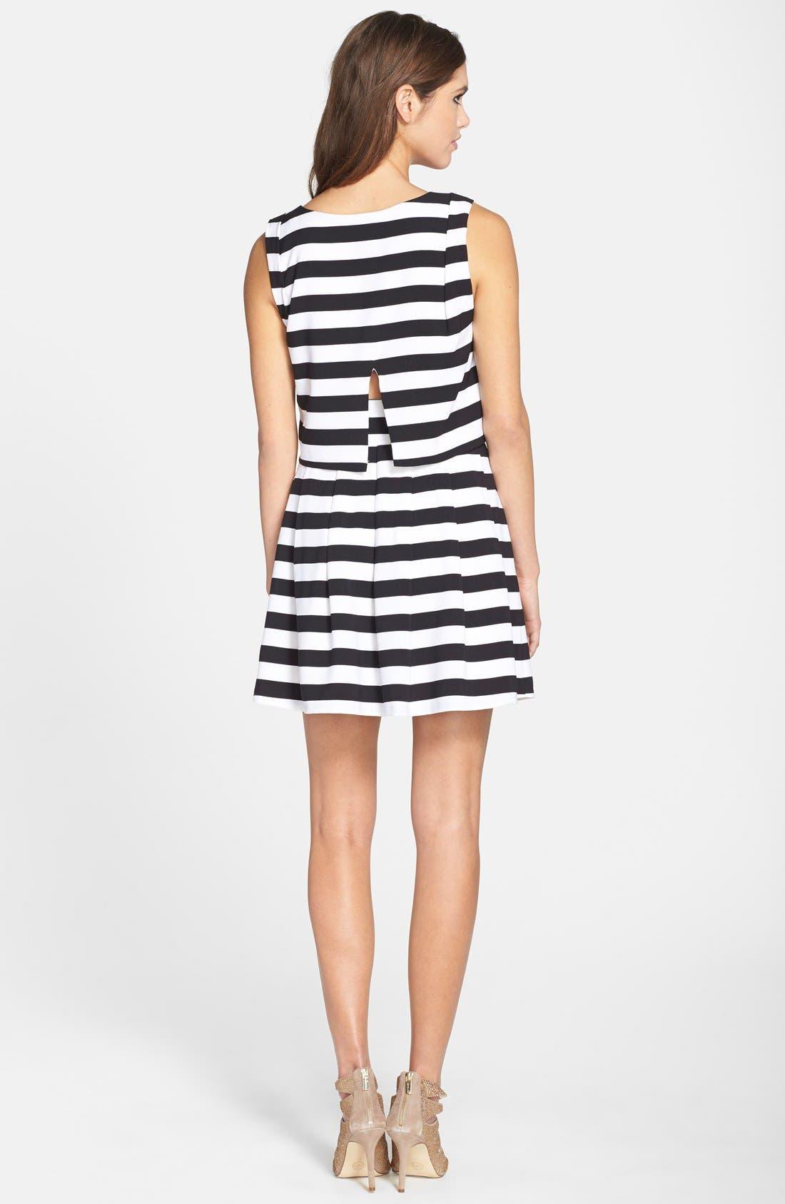ELLIATT, 'Eclipse Stripe' Crepe Crop Top & Skirt, Alternate thumbnail 4, color, 003