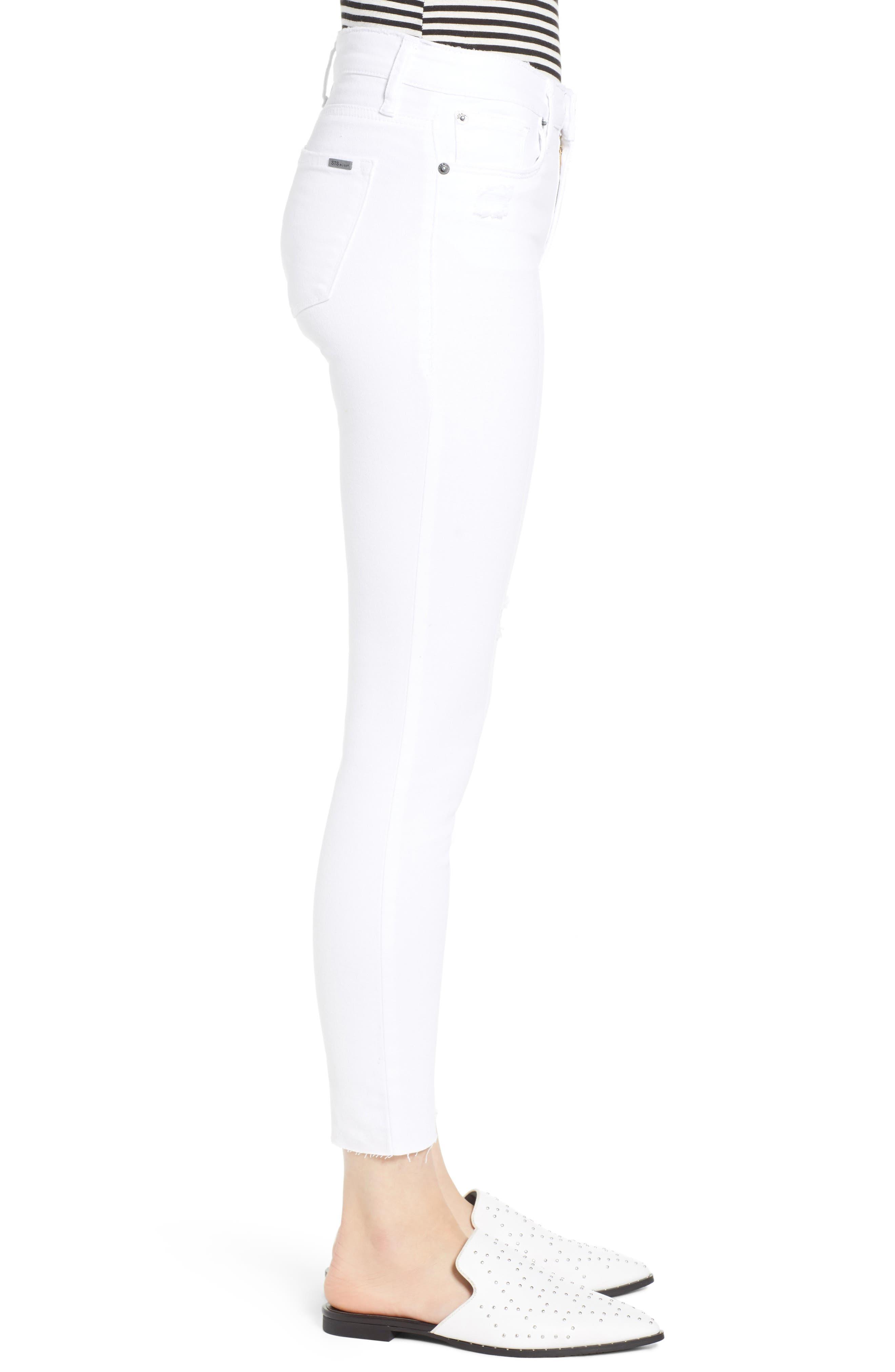 STS BLUE, Emma Cutoff Hem Crop Skinny Jeans, Alternate thumbnail 4, color, OPTIC WHITE