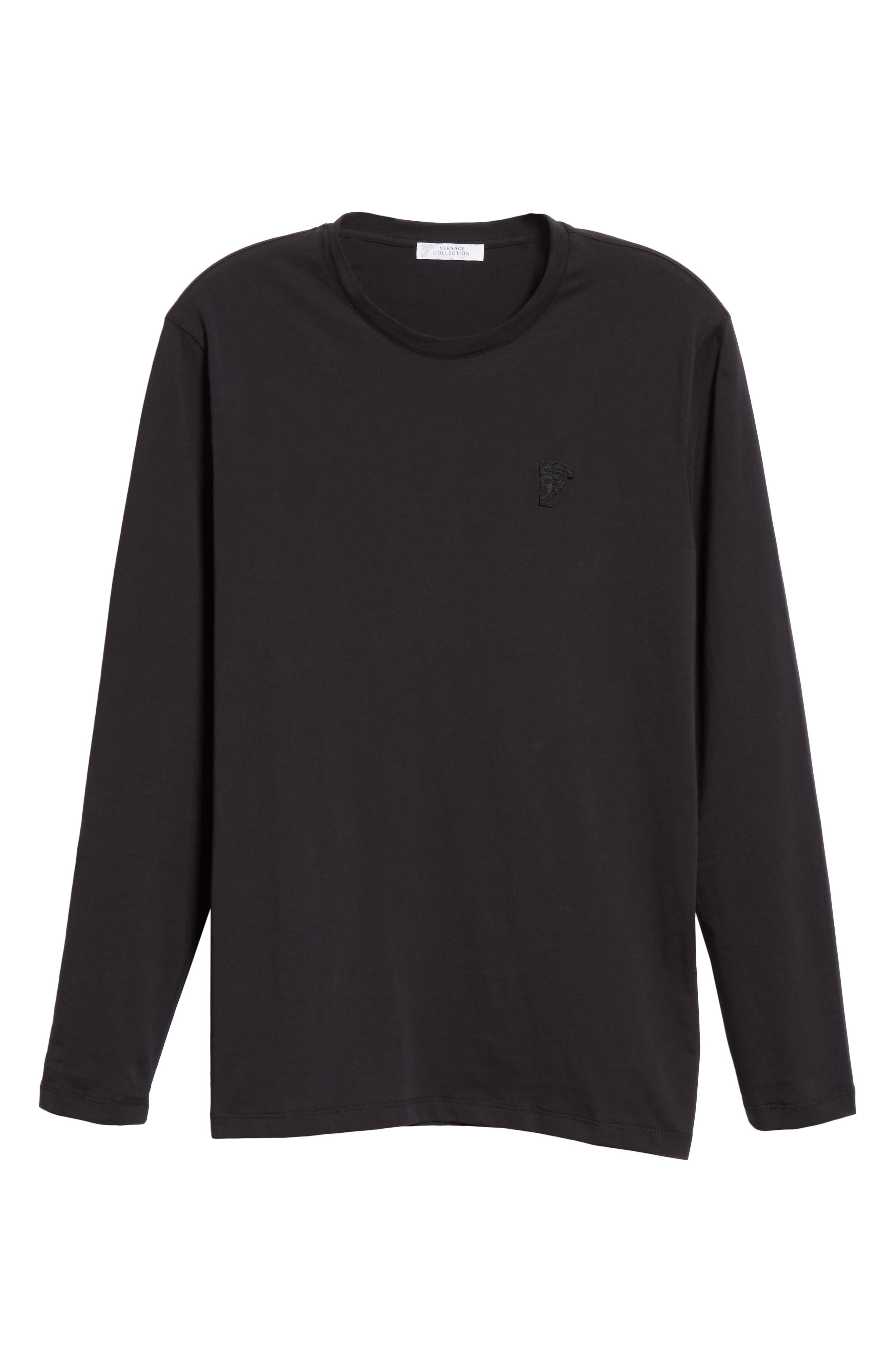 VERSACE COLLECTION, Medusa Long Sleeve T-Shirt, Alternate thumbnail 6, color, 001