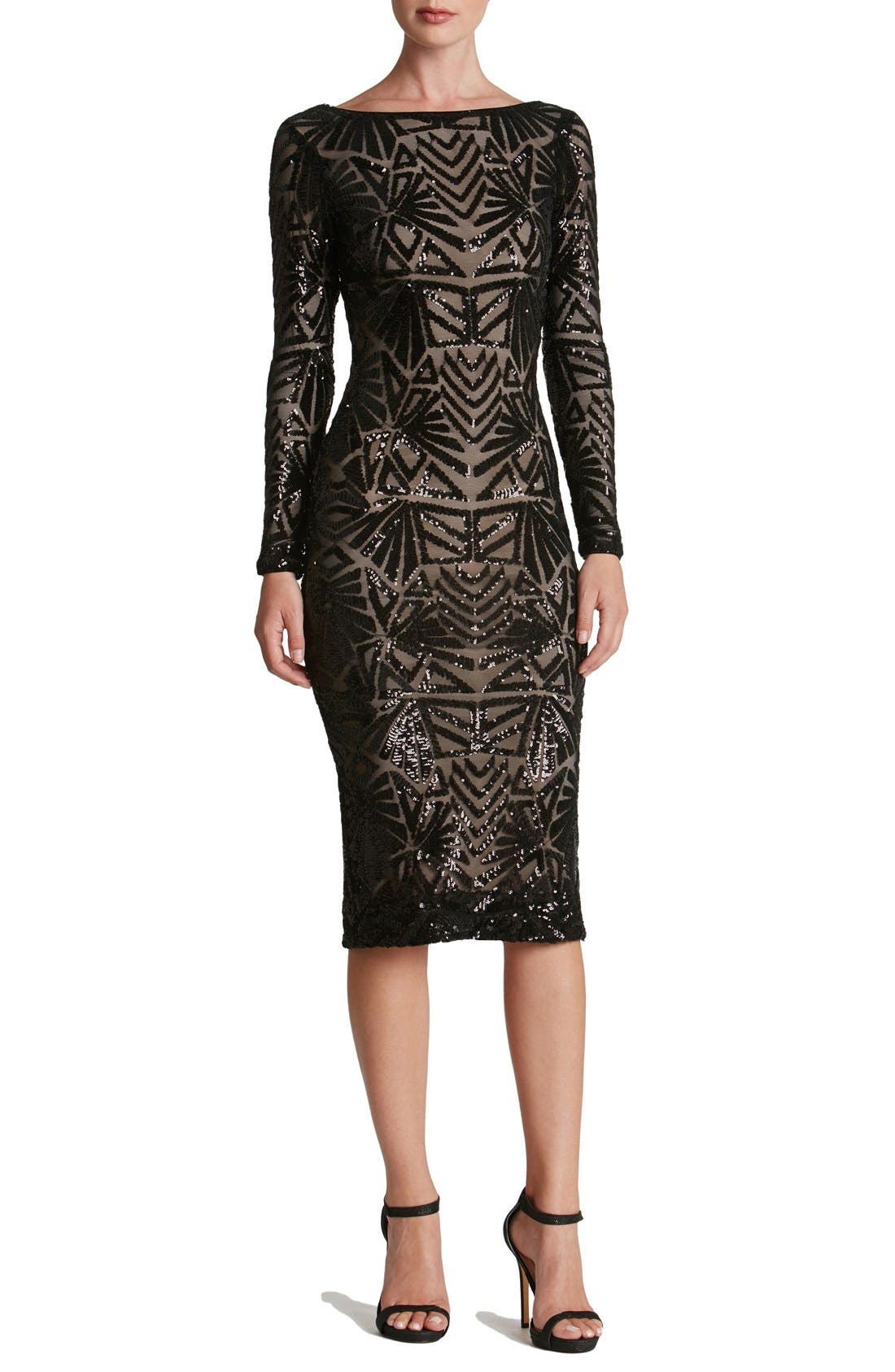 DRESS THE POPULATION, Emery Midi Dress, Main thumbnail 1, color, 001