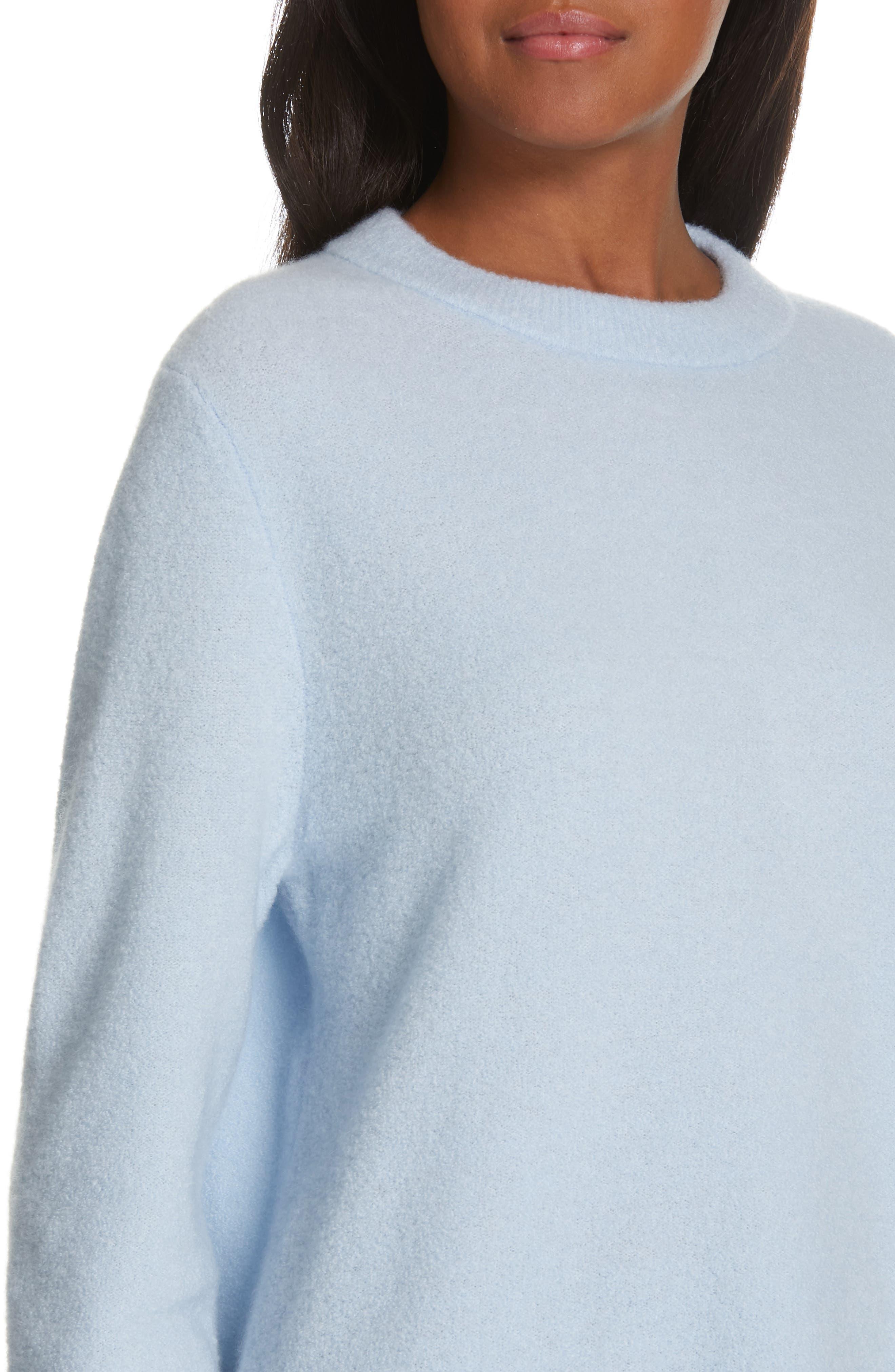 NORDSTROM SIGNATURE, Cashmere Blend Bouclé Sweater, Alternate thumbnail 4, color, BLUE CASHMERE