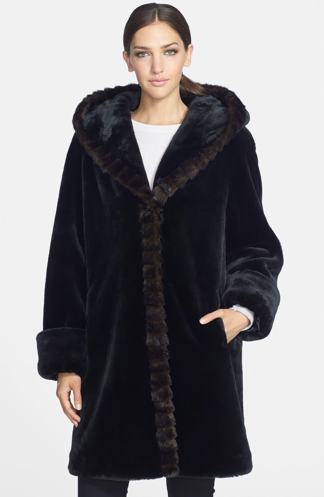 GALLERY, Hooded Faux Fur Walking Coat, Main thumbnail 1, color, 001