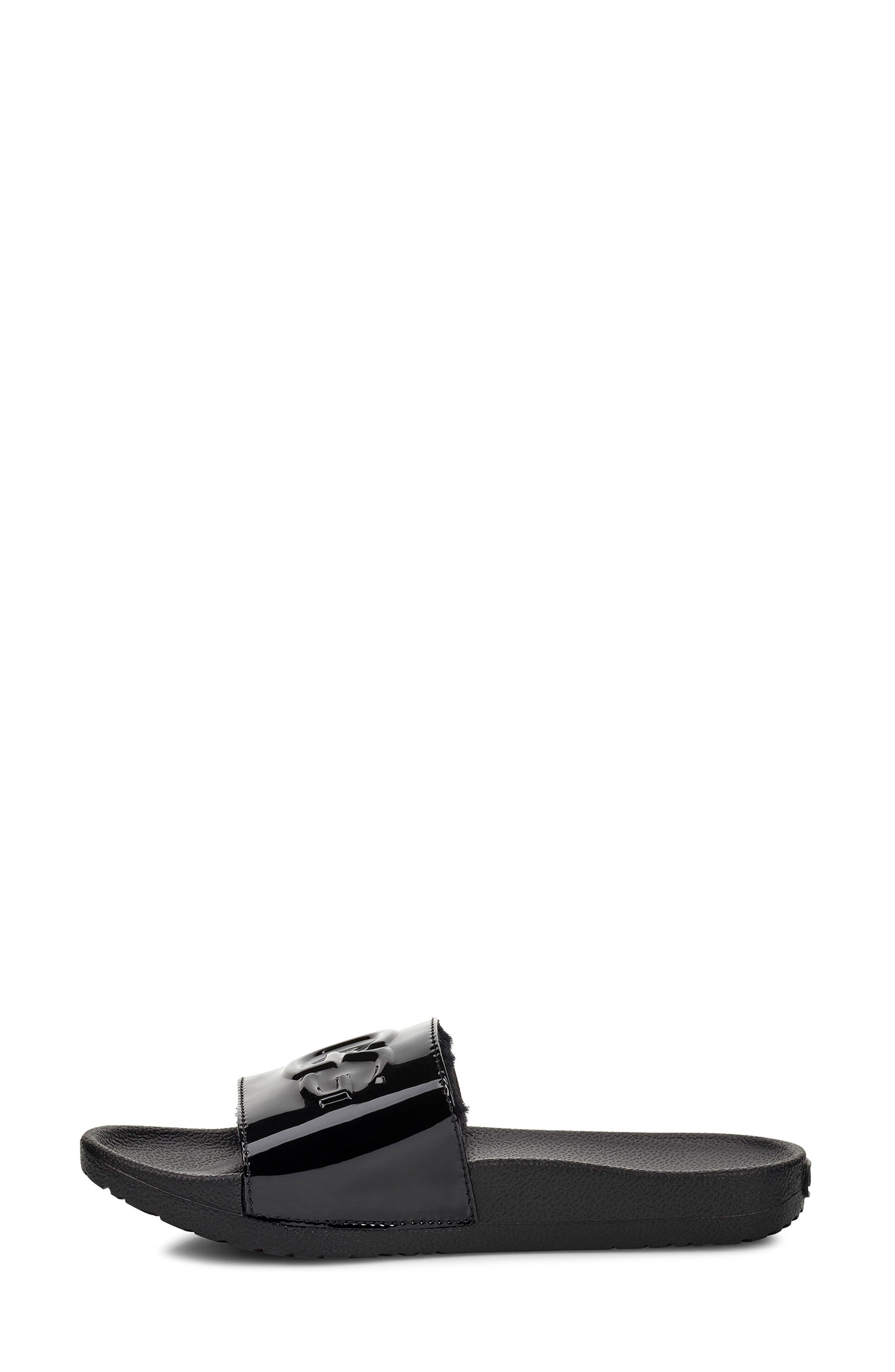 UGG<SUP>®</SUP>, Royale Slide Sandal, Alternate thumbnail 6, color, BLACK