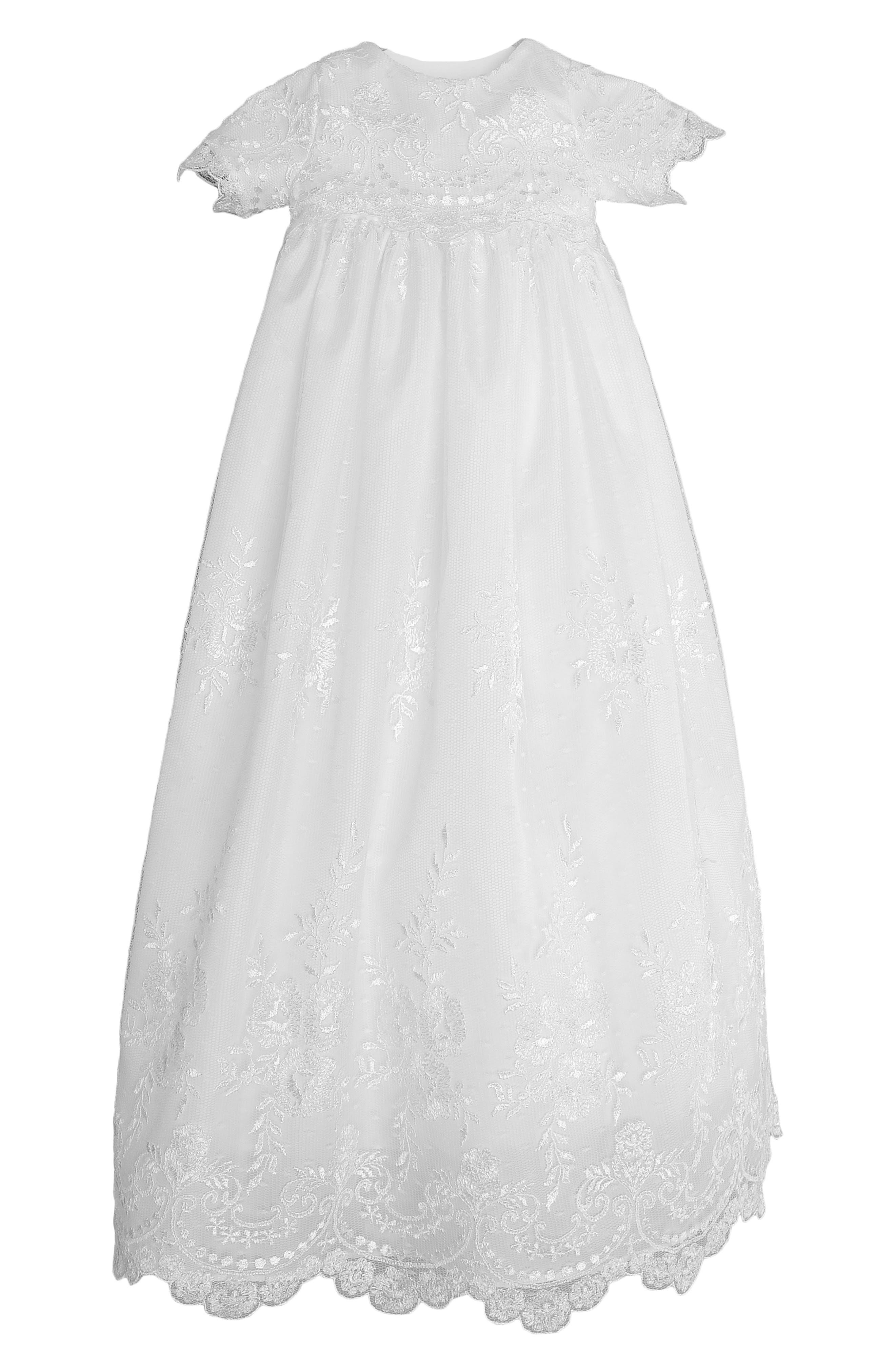 LITTLE THINGS MEAN A LOT, Christening Gown, Shawl, Slip & Bonnet Set, Main thumbnail 1, color, WHITE